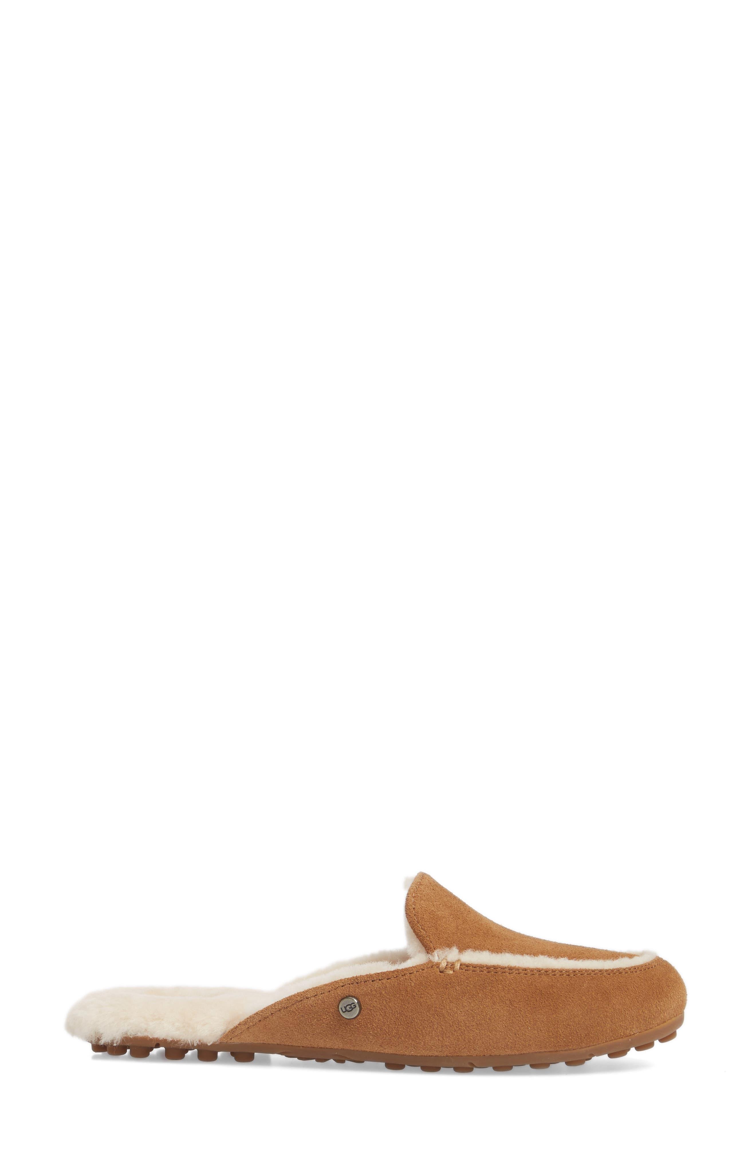 Lane Genuine Shearling Slipper,                             Alternate thumbnail 3, color,                             Chestnut Suede