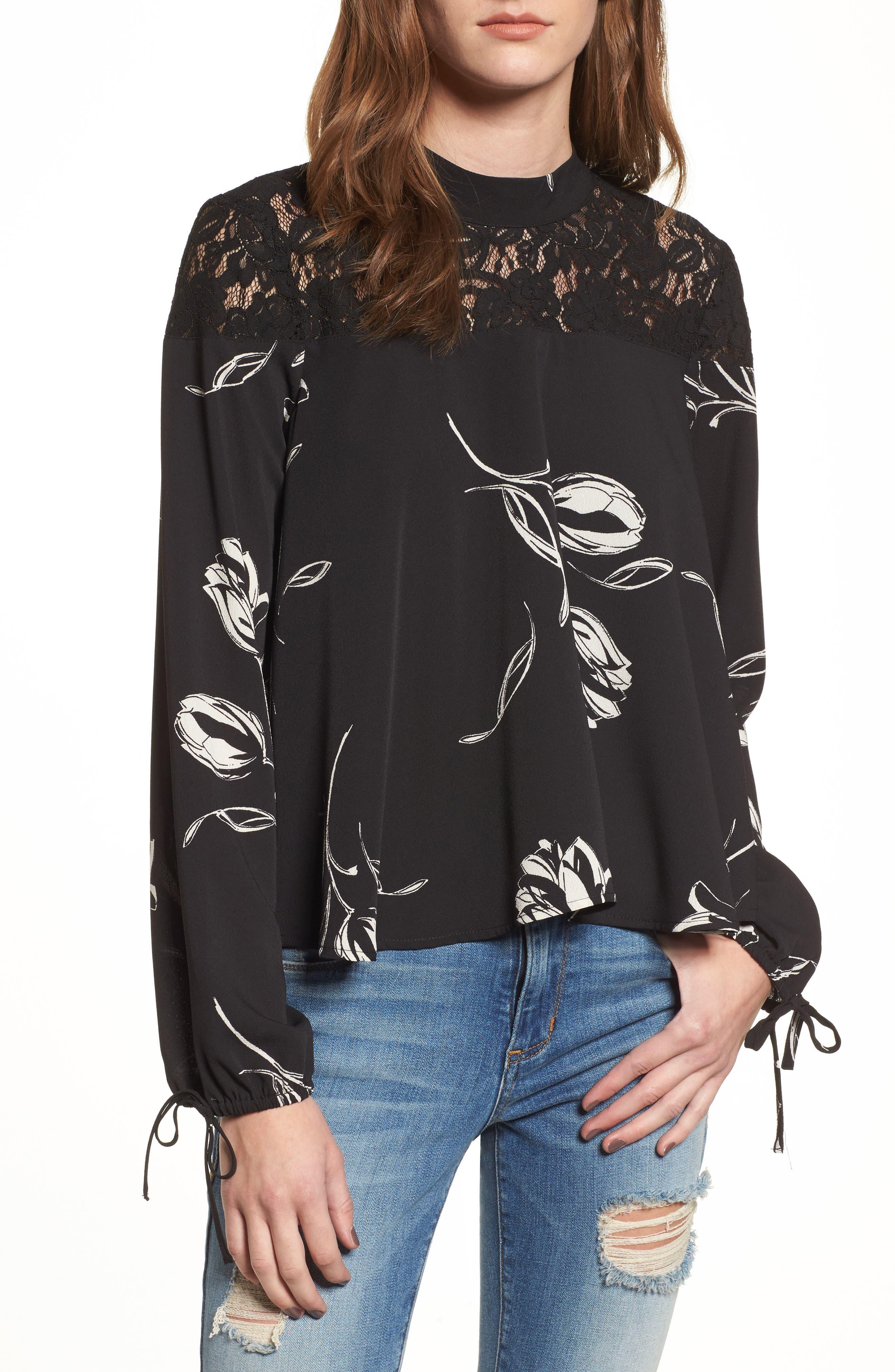 Lace Yoke Floral Print Blouse,                         Main,                         color, Black/ Ivory