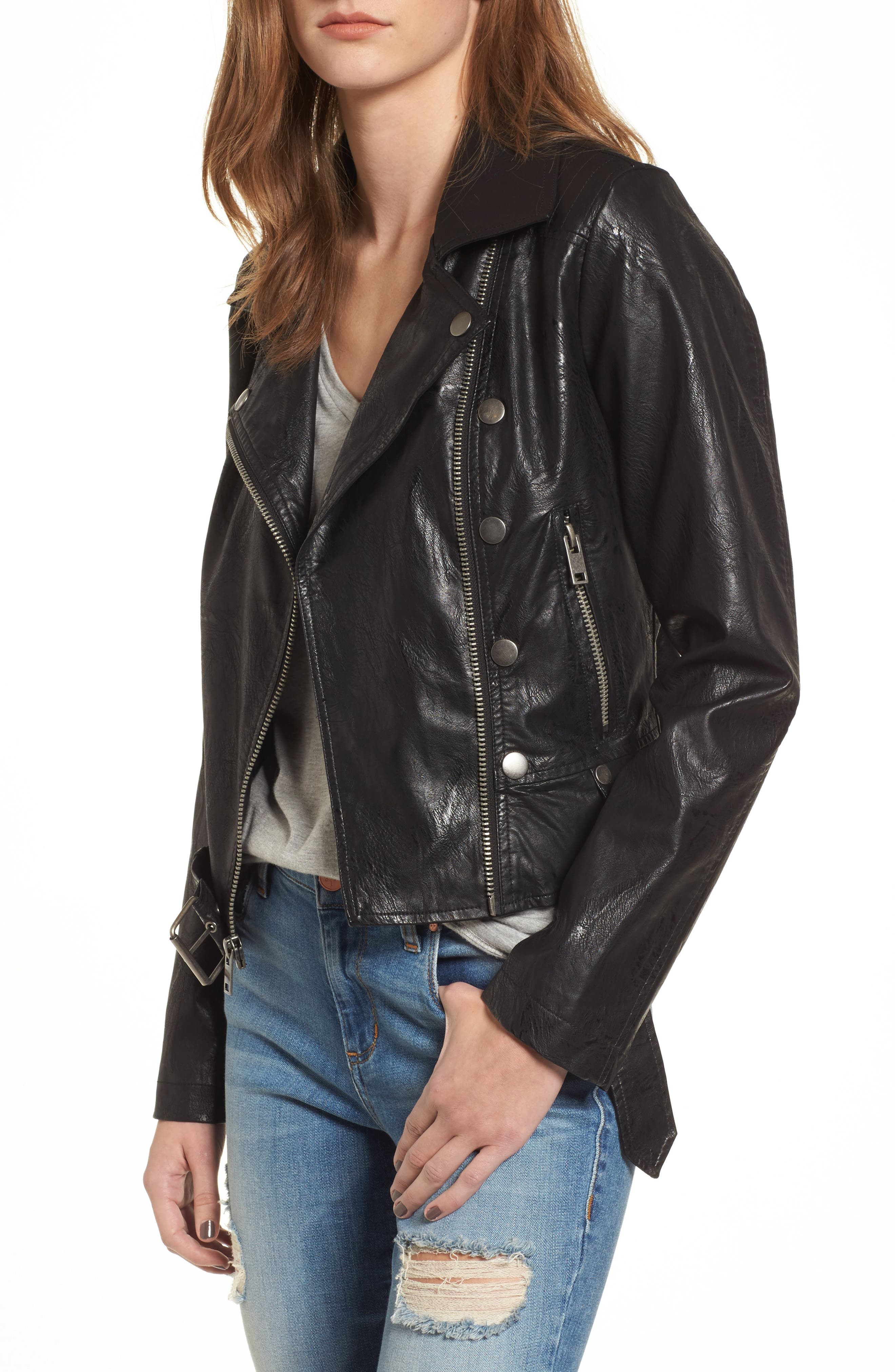 Textured Faux Leather Jacket,                         Main,                         color, Black