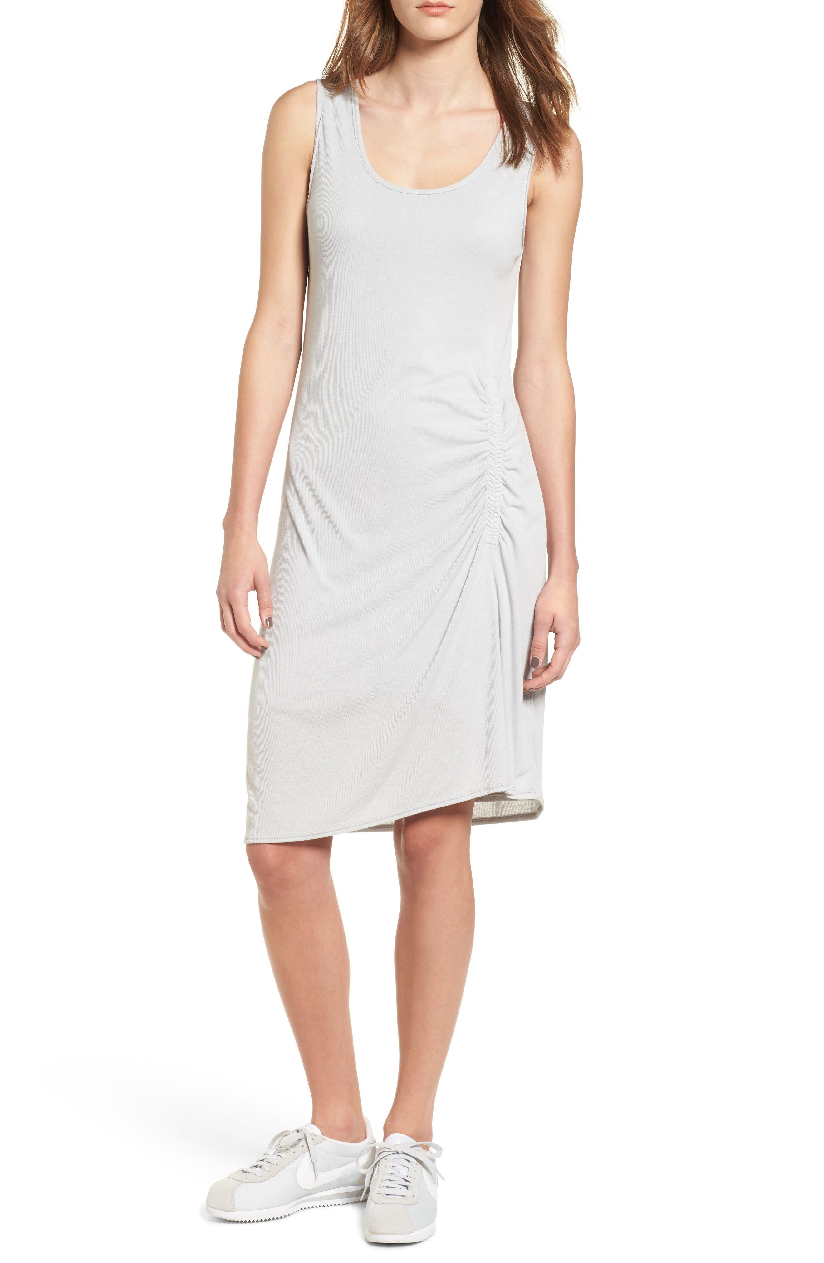 Ruched Rib Knit Dress,                             Main thumbnail 1, color,                             Heather Grey