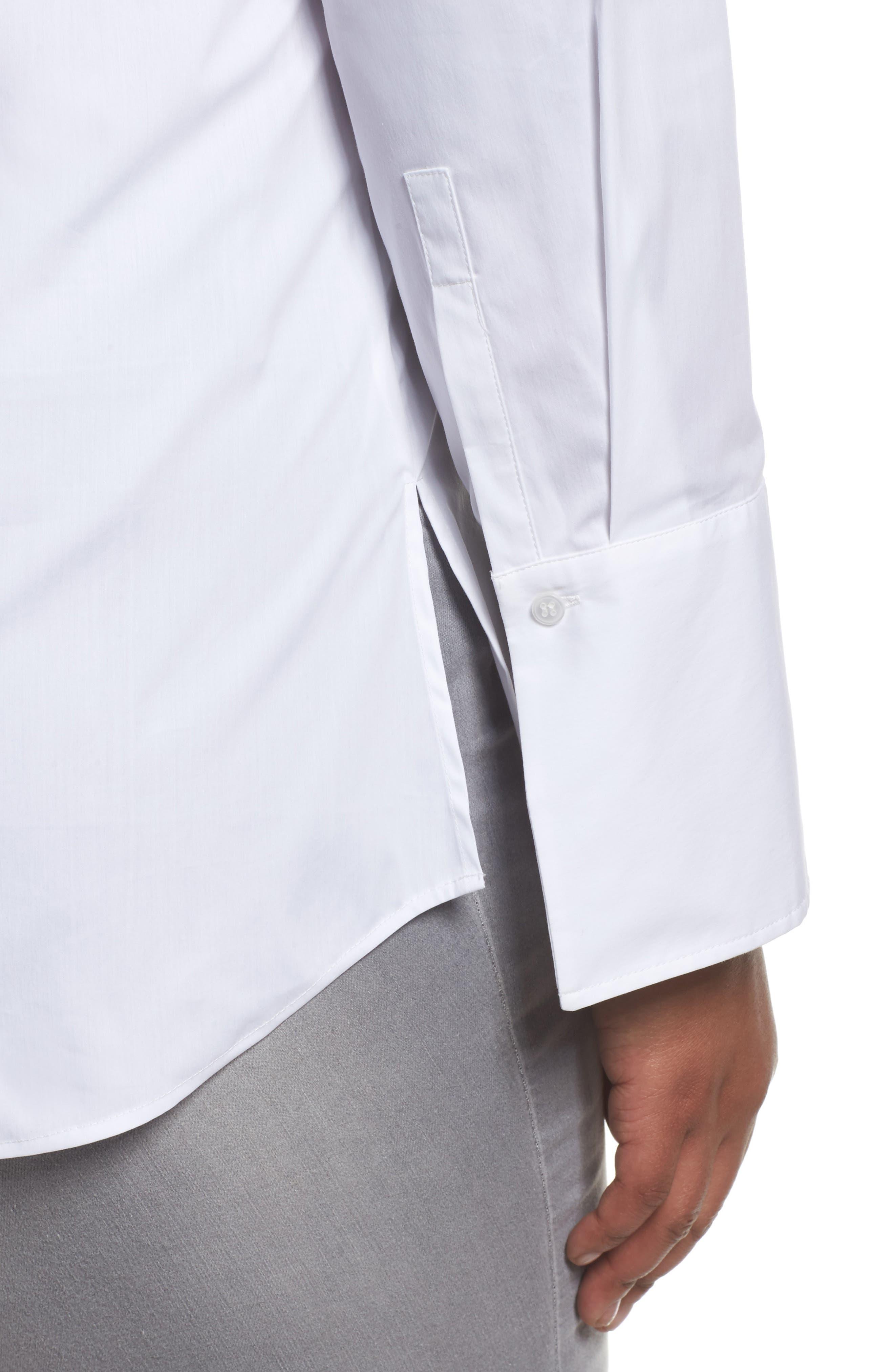 Tunic Button Down Shirt,                             Alternate thumbnail 4, color,                             White