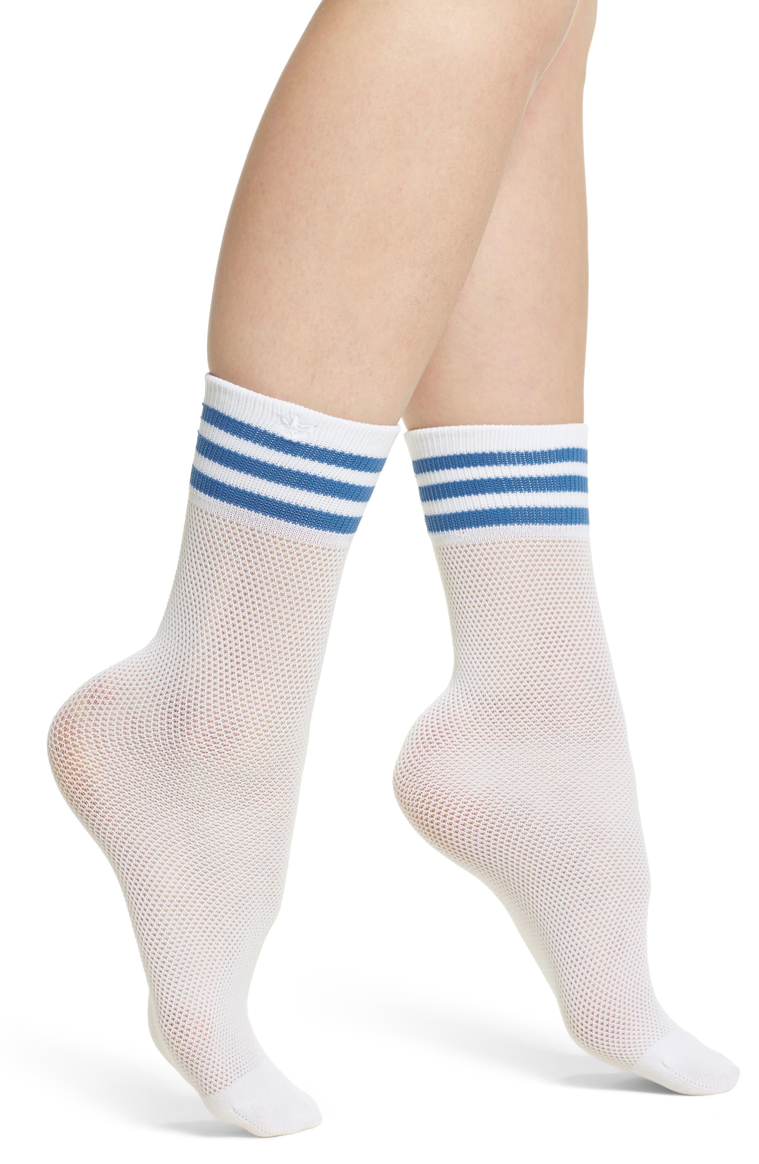 Stripe Mesh Ankle Socks,                             Main thumbnail 1, color,                             White/ Trace Royal