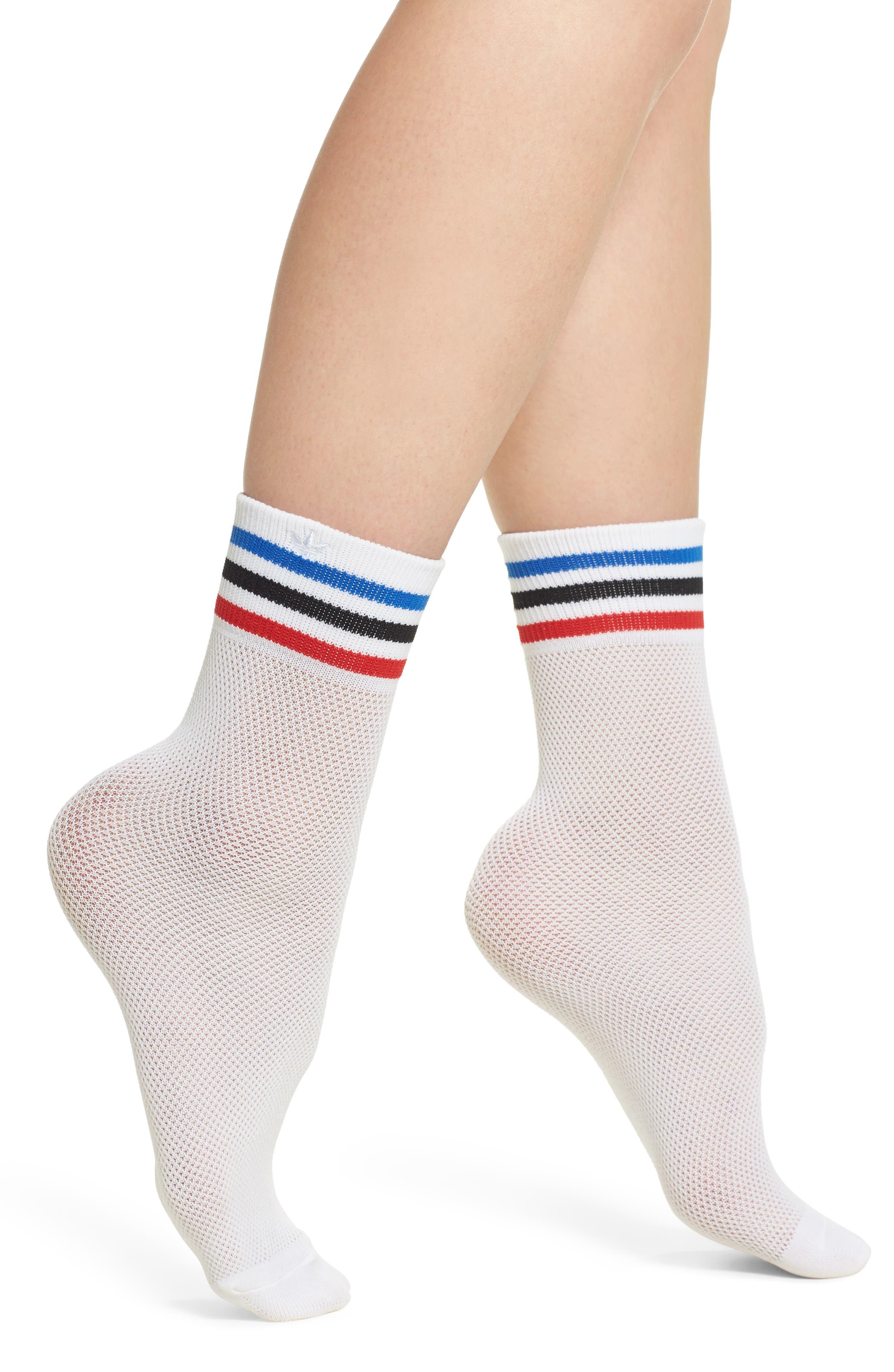 Stripe Mesh Ankle Socks,                             Main thumbnail 1, color,                             White
