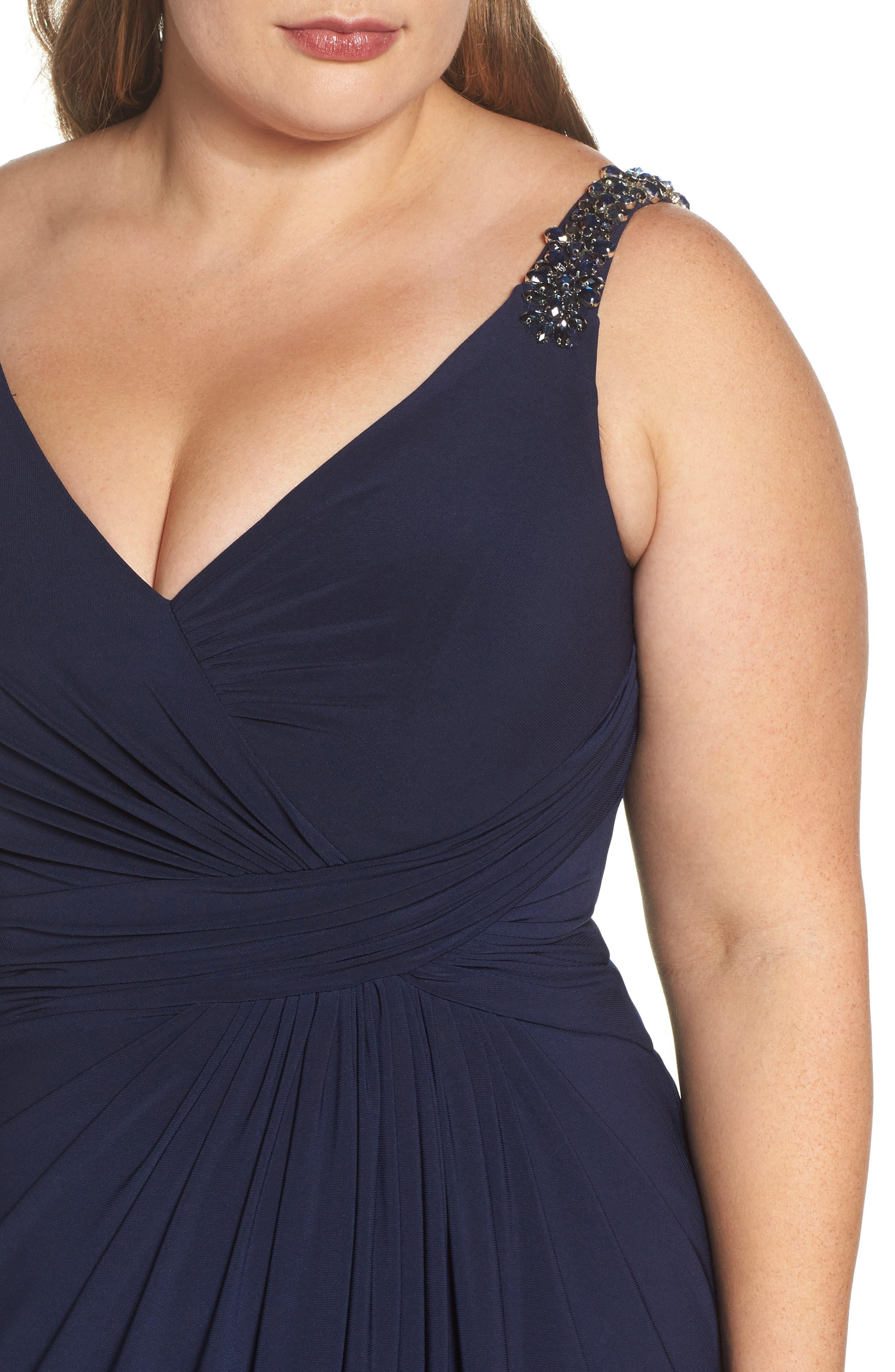 Embellished Shoulder Jersey Gown,                             Alternate thumbnail 4, color,                             Navy