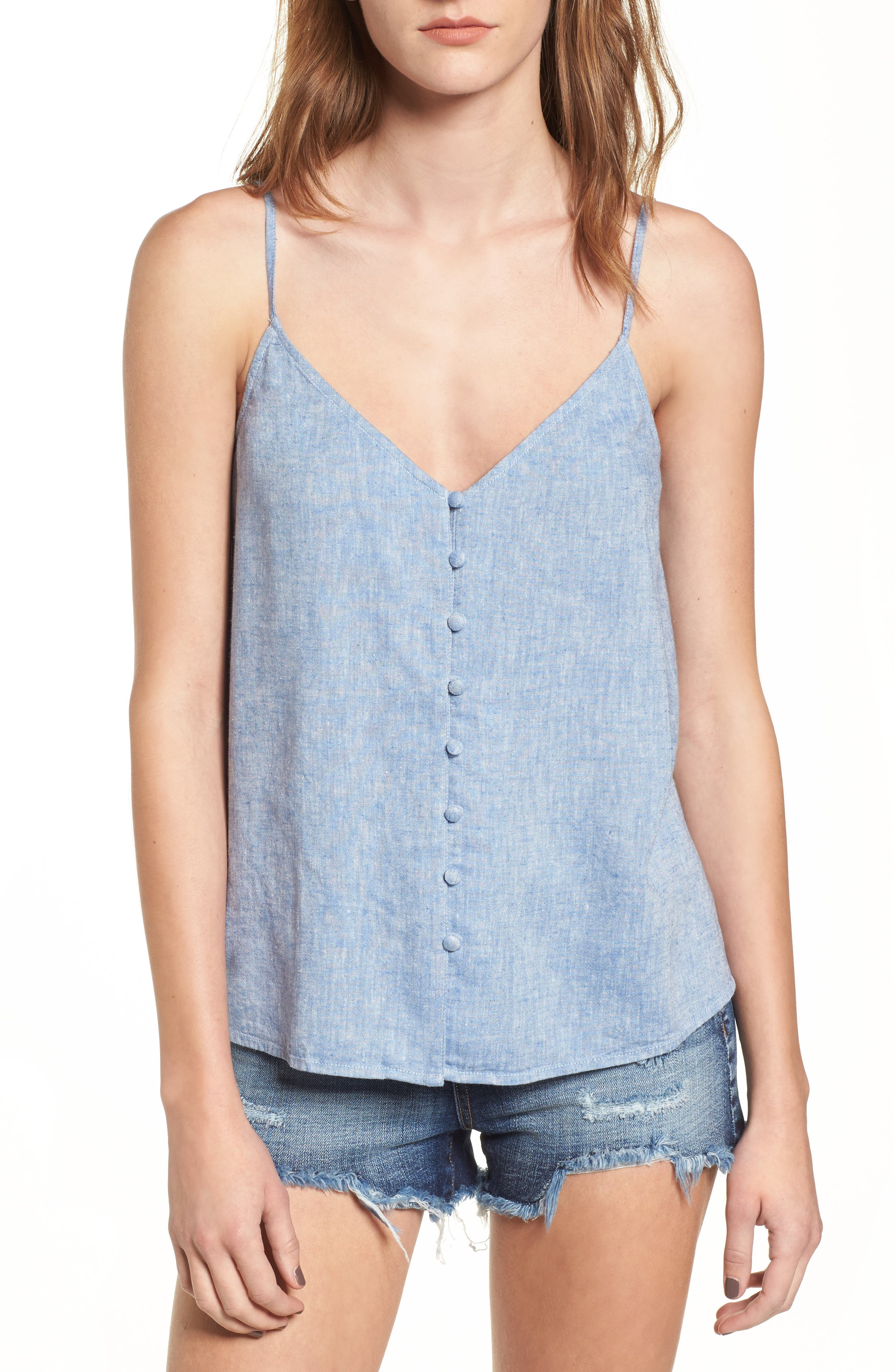Button Front Camisole,                             Main thumbnail 1, color,                             Blue Yonder Crossdye