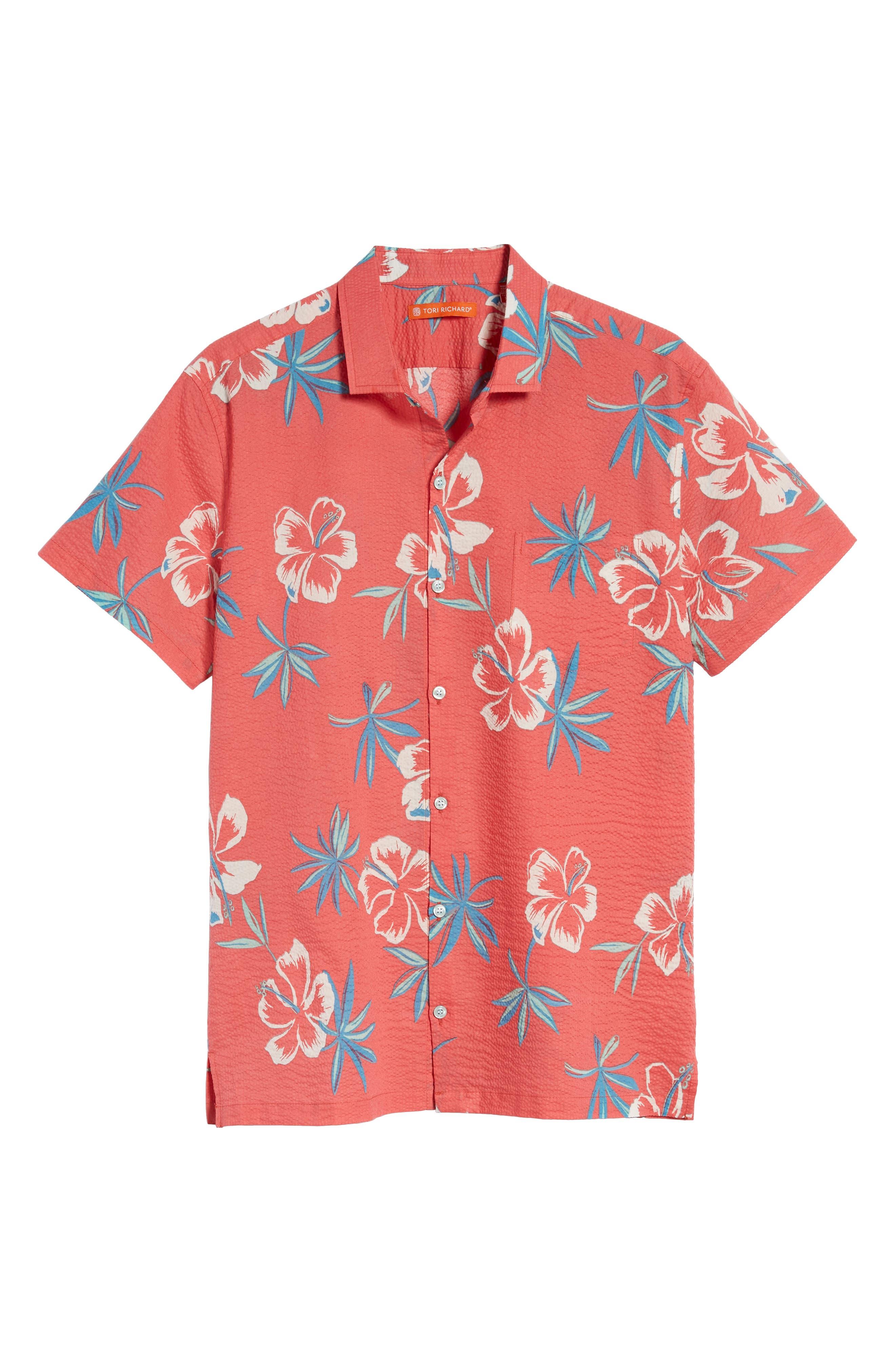 So Fresh Trim Fit Cotton Lawn Sport Shirt,                             Alternate thumbnail 6, color,                             Guava