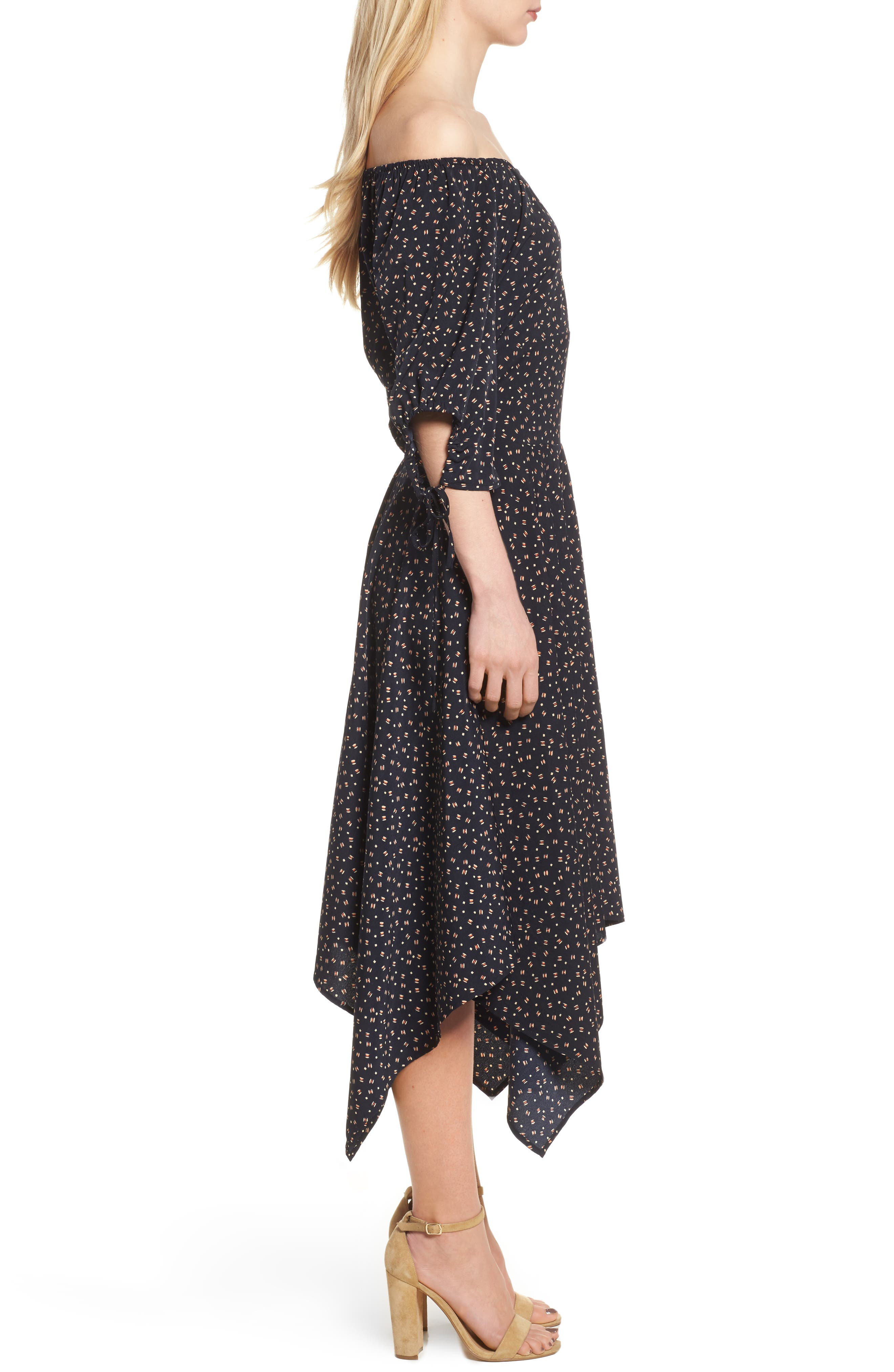 Bishop + Young Off the Shoulder Dress,                             Alternate thumbnail 3, color,                             Navy Print