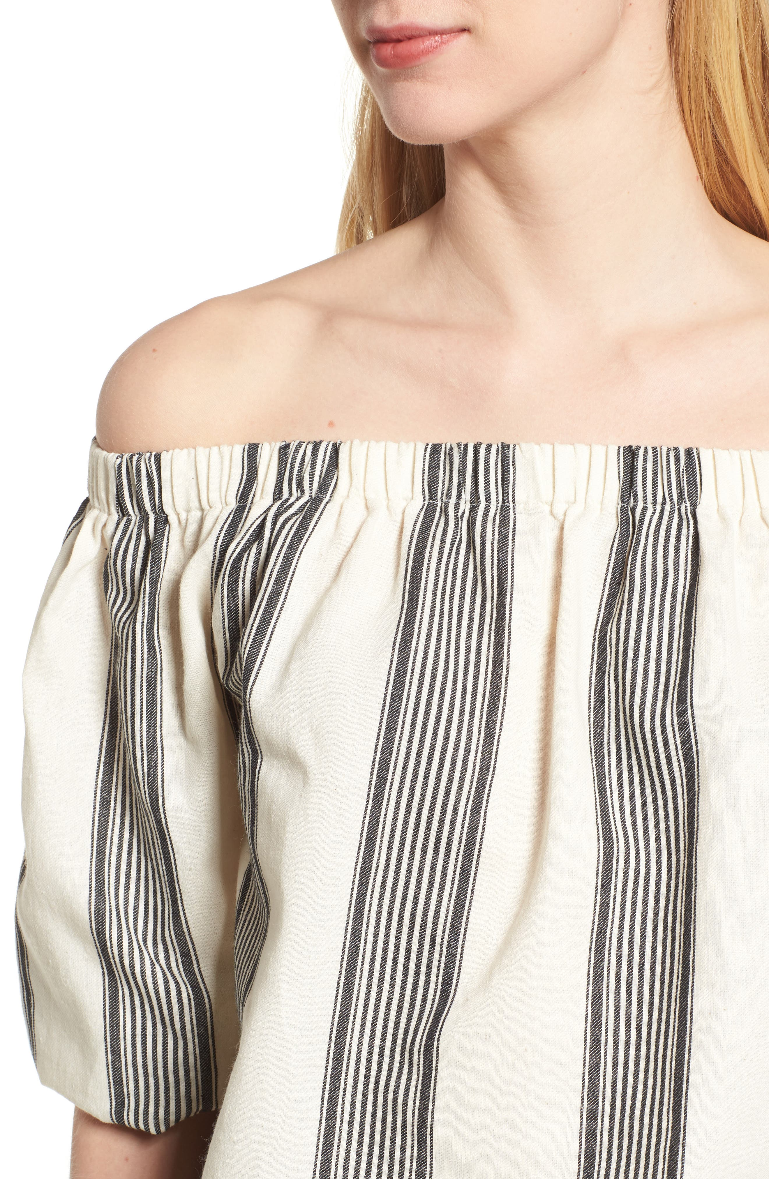 Bishop + Young Karlie Off the Shoulder Top,                             Alternate thumbnail 4, color,                             Grey Stripe
