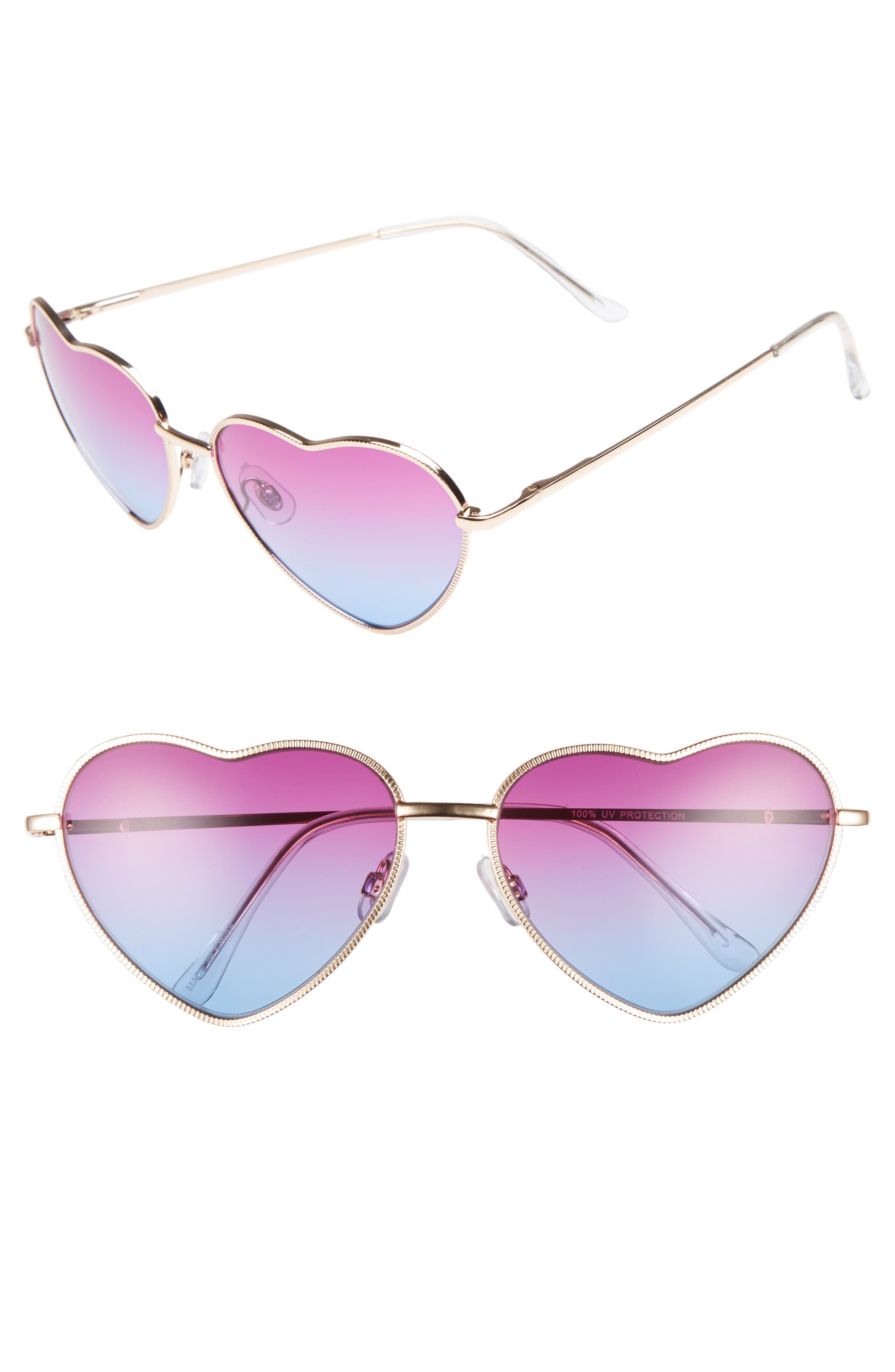 Heart Shaped 58mm Sunglasses,                         Main,                         color, Gold/ Purple