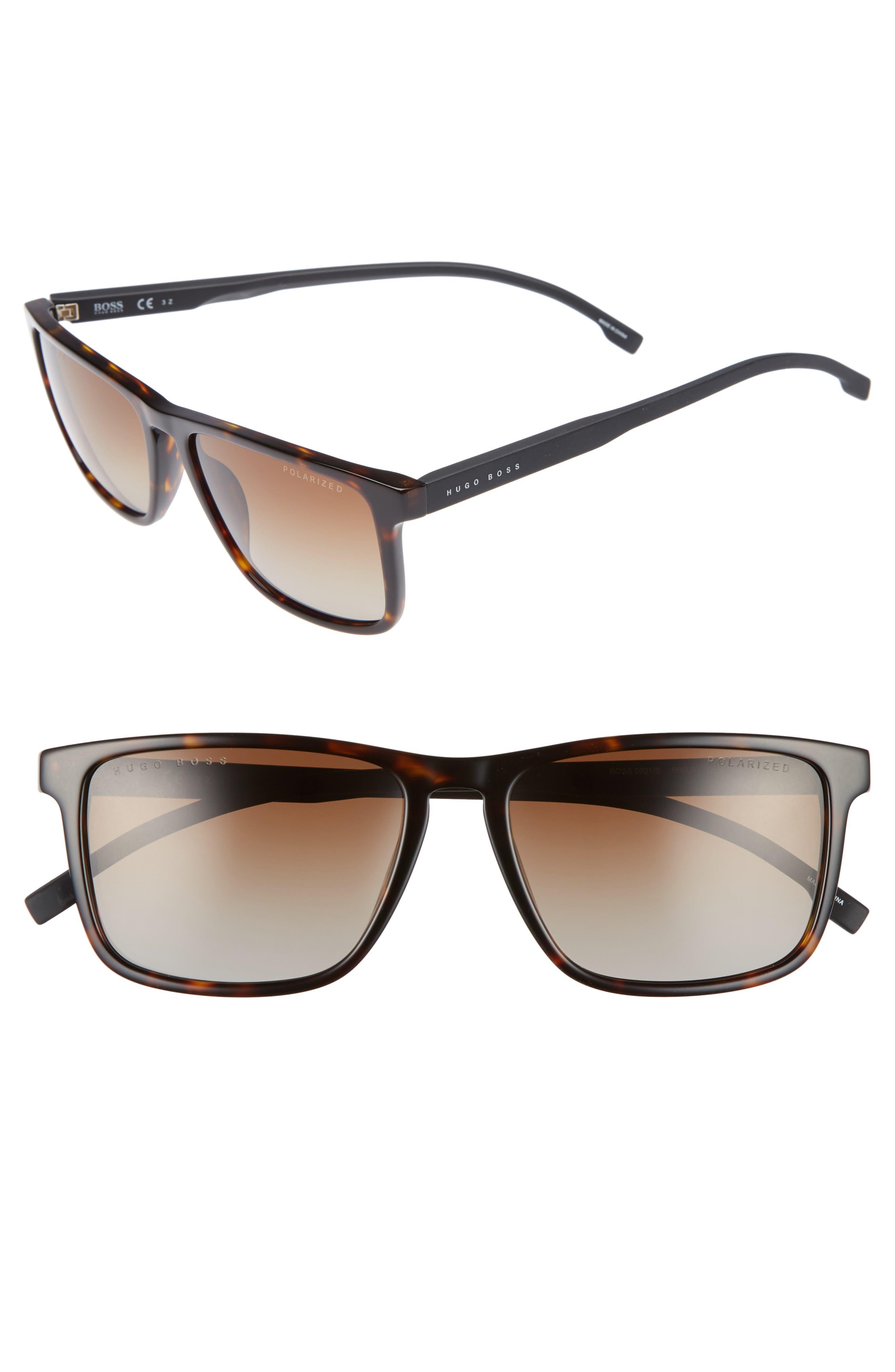 55mm Sunglasses,                         Main,                         color, Dark Havana/ Brown Pol