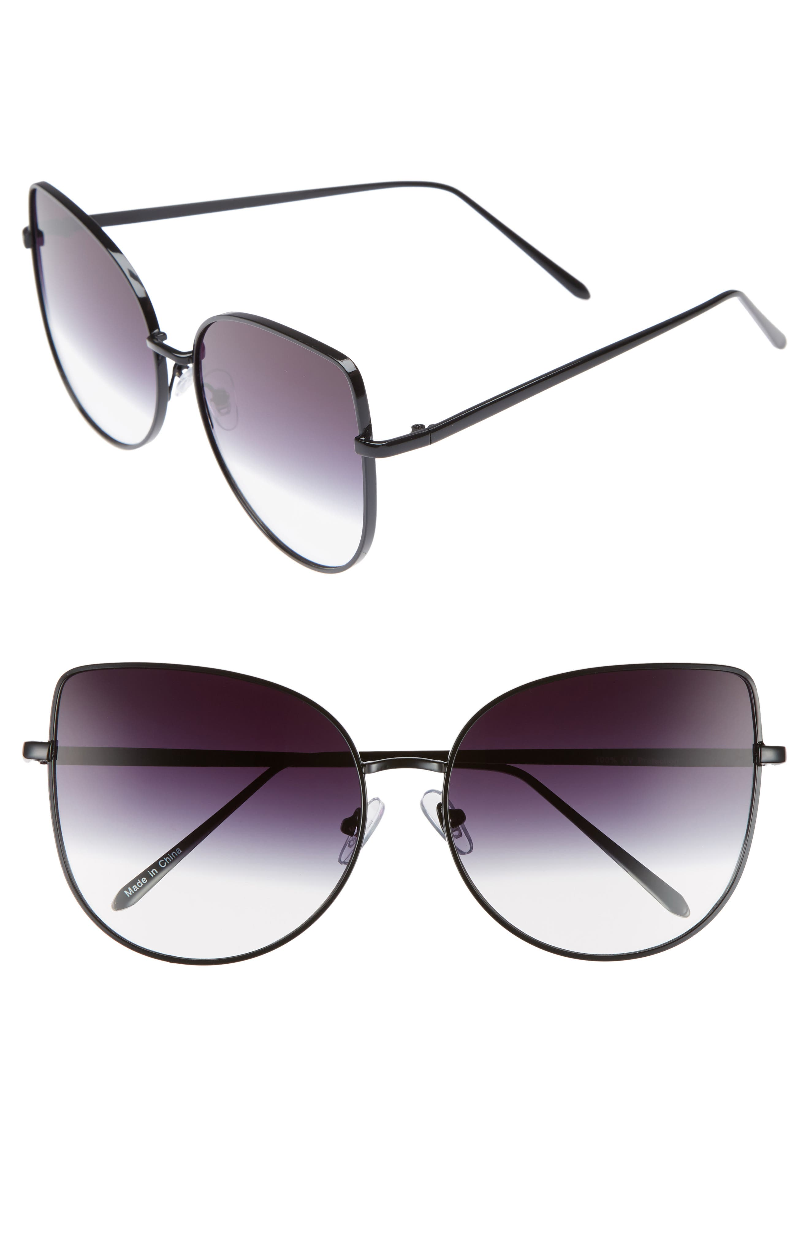 60mm Metal Cat Eye Sunglasses,                             Main thumbnail 1, color,                             Black/ Fade To Clear