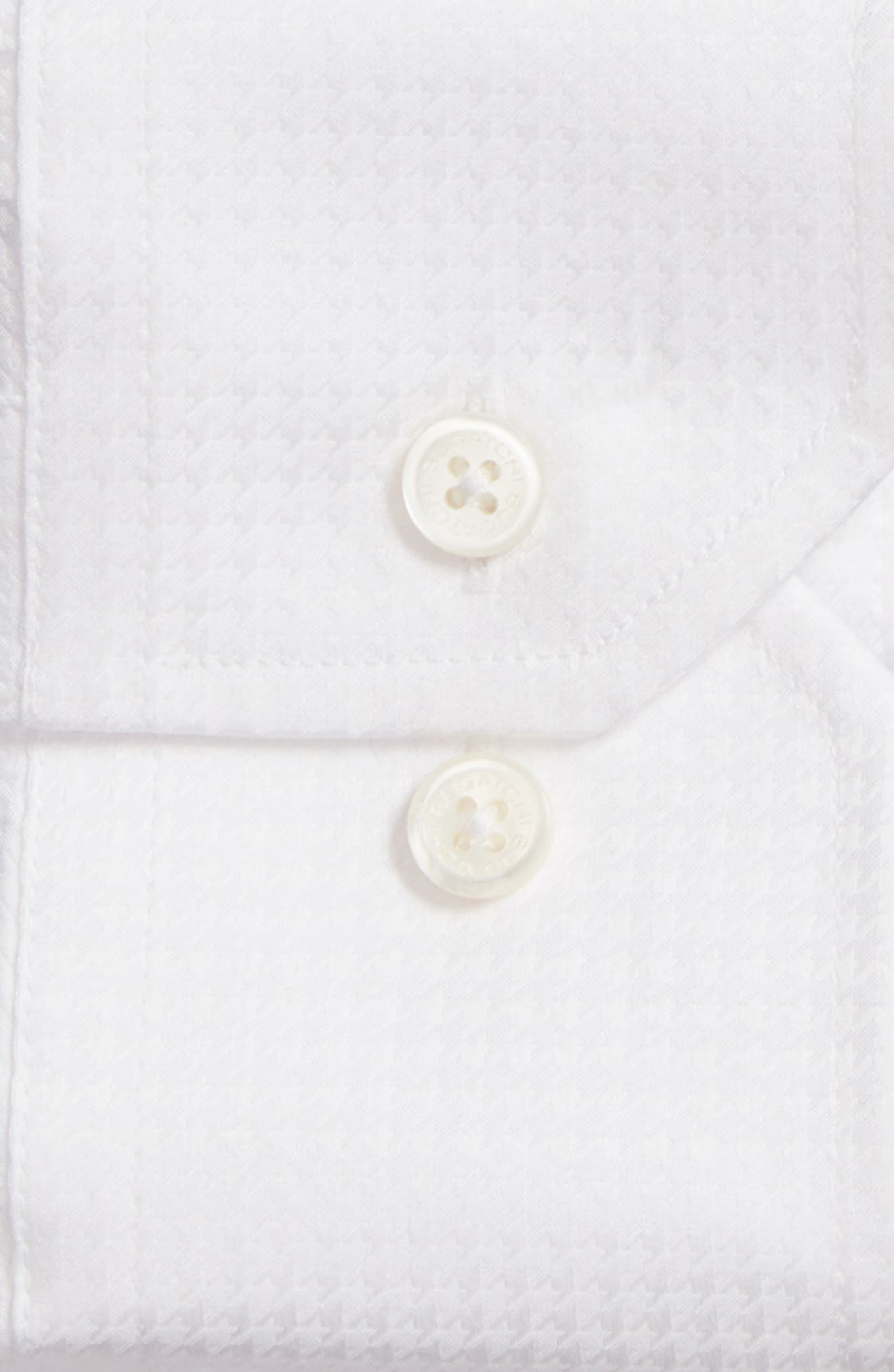Trim Fit Houndstooth Dress Shirt,                             Alternate thumbnail 2, color,                             White