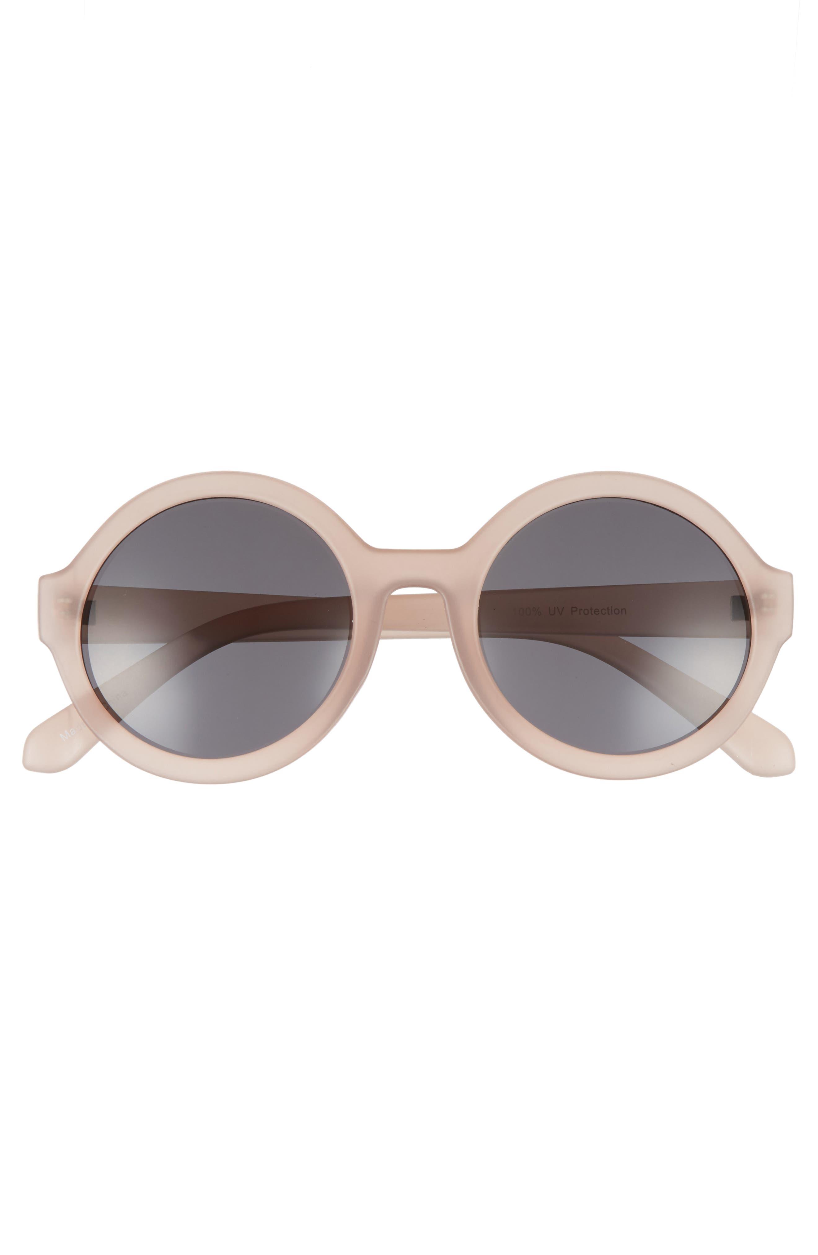50mm Round Sunglasses,                             Alternate thumbnail 3, color,                             Mauve