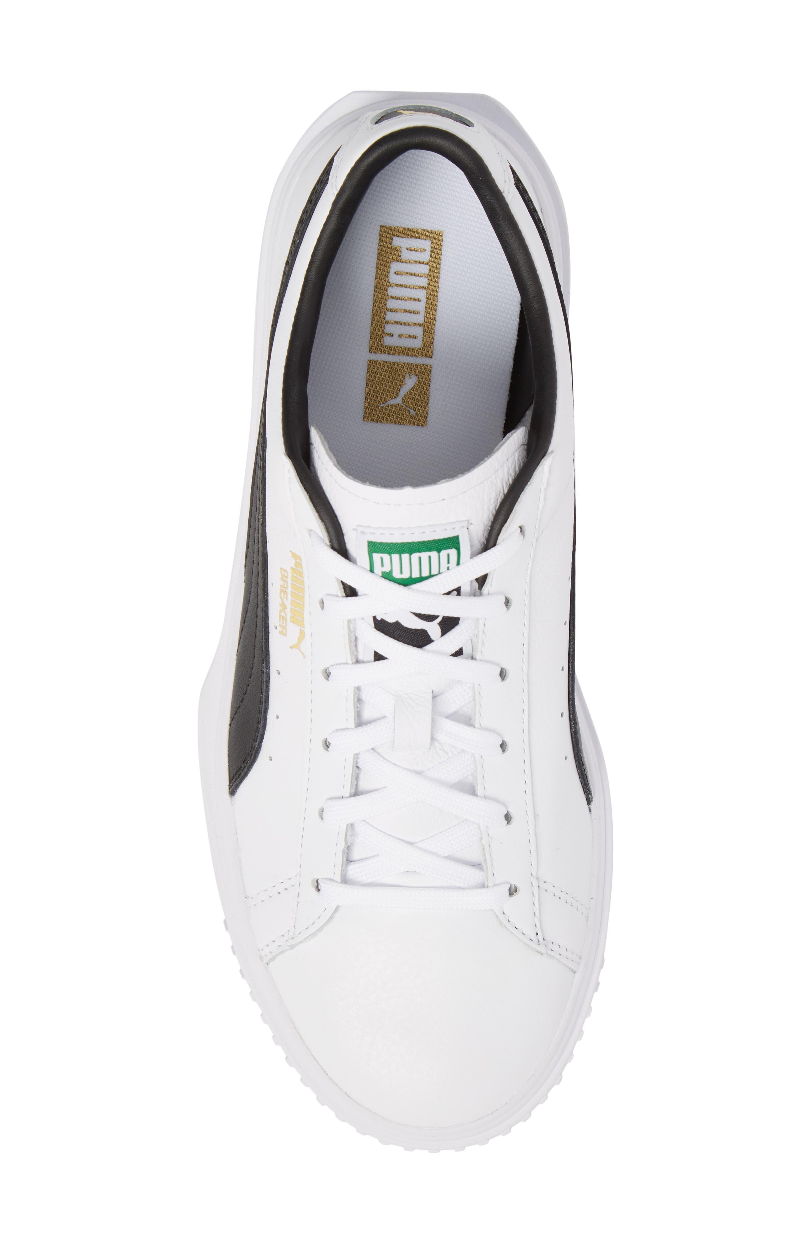 Breaker Low Top Sneaker,                             Alternate thumbnail 5, color,                             White/ Black Leather