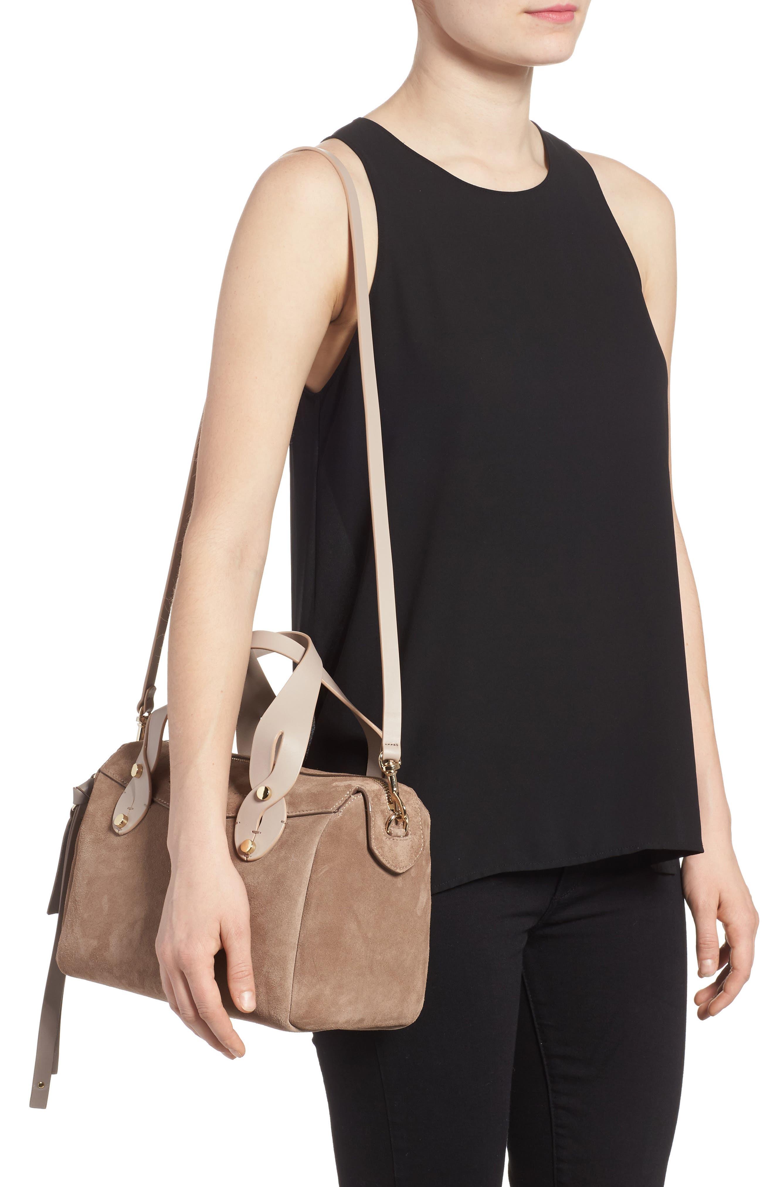 Small Allie Nappa Leather Bowling Bag,                             Alternate thumbnail 2, color,                             Light Mocha