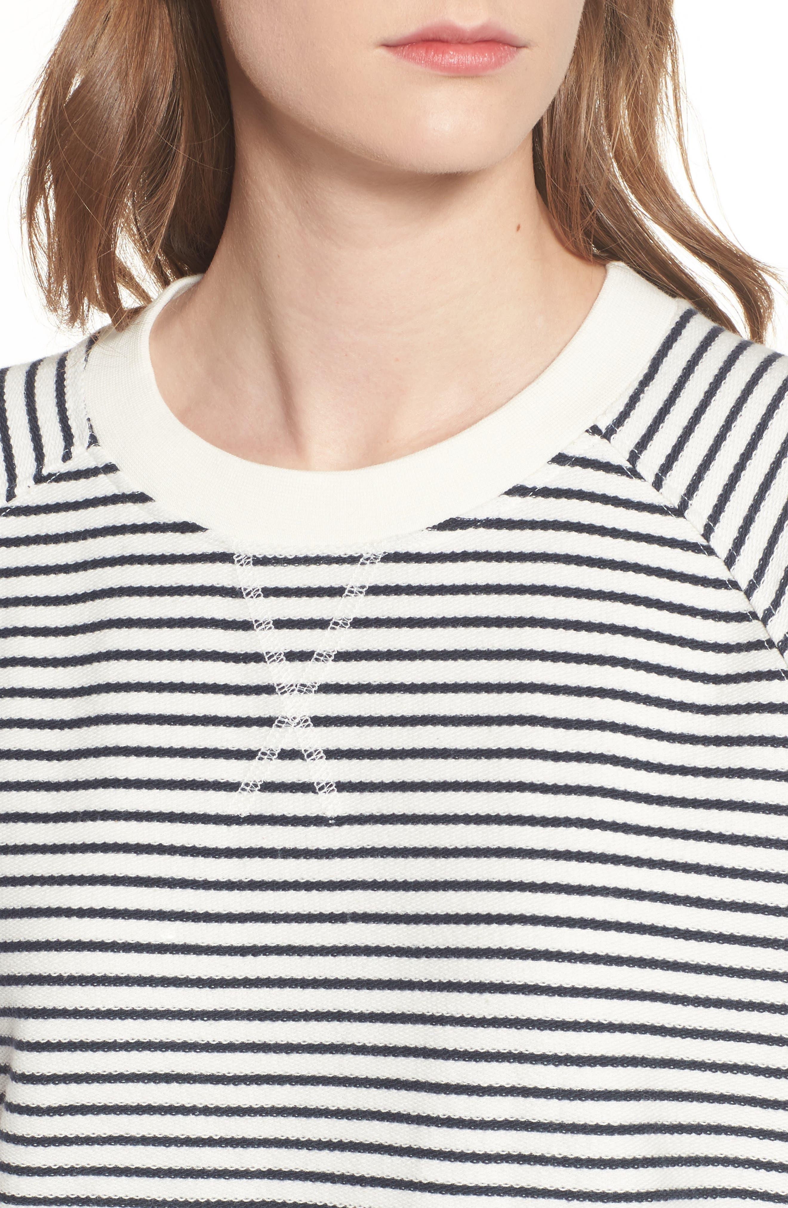 Monreith Stripe Shift Dress,                             Alternate thumbnail 4, color,                             White/ Navy