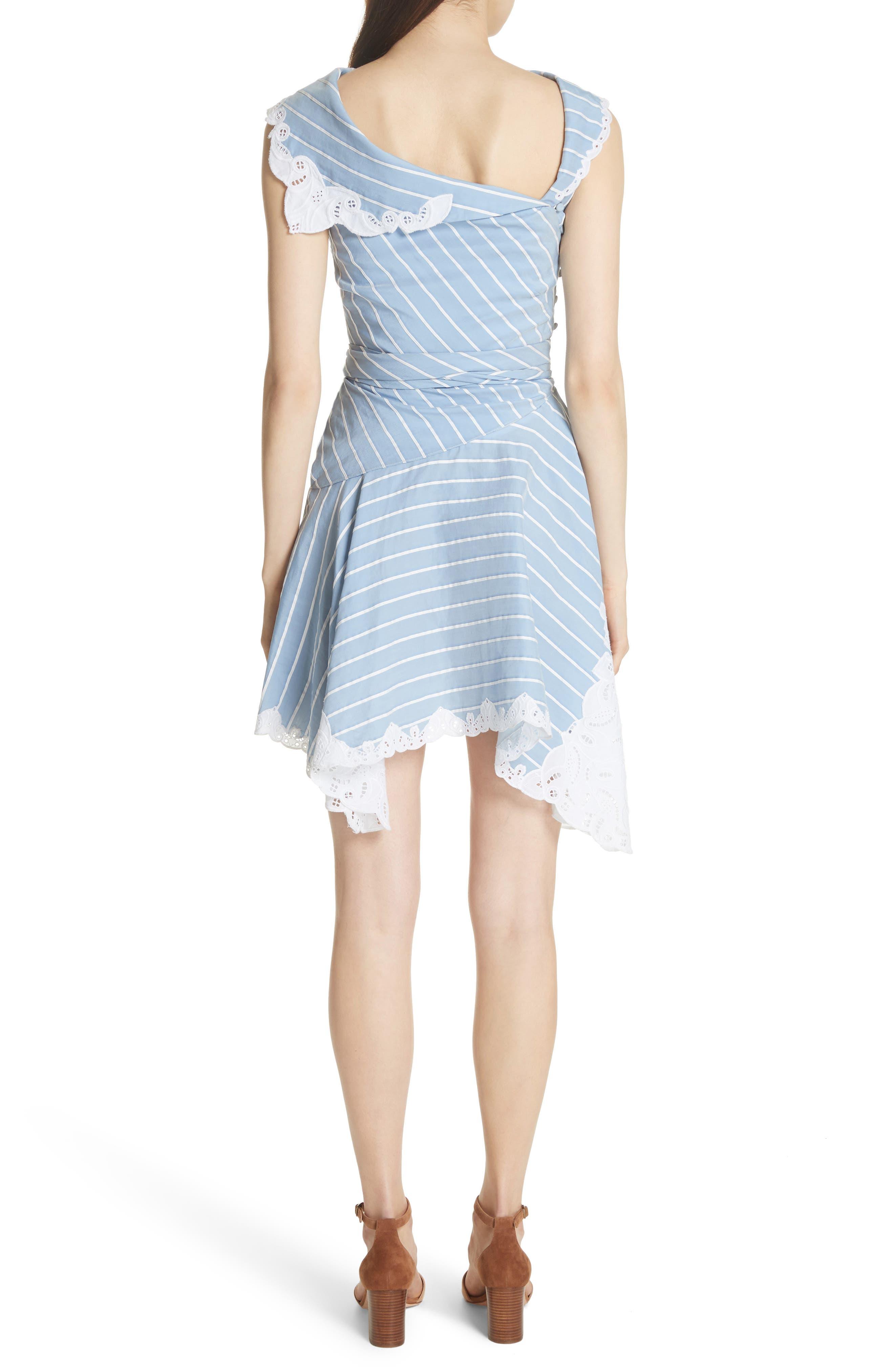 Lace Trim Asymmetrical Dress,                             Alternate thumbnail 2, color,                             White/ Chambray