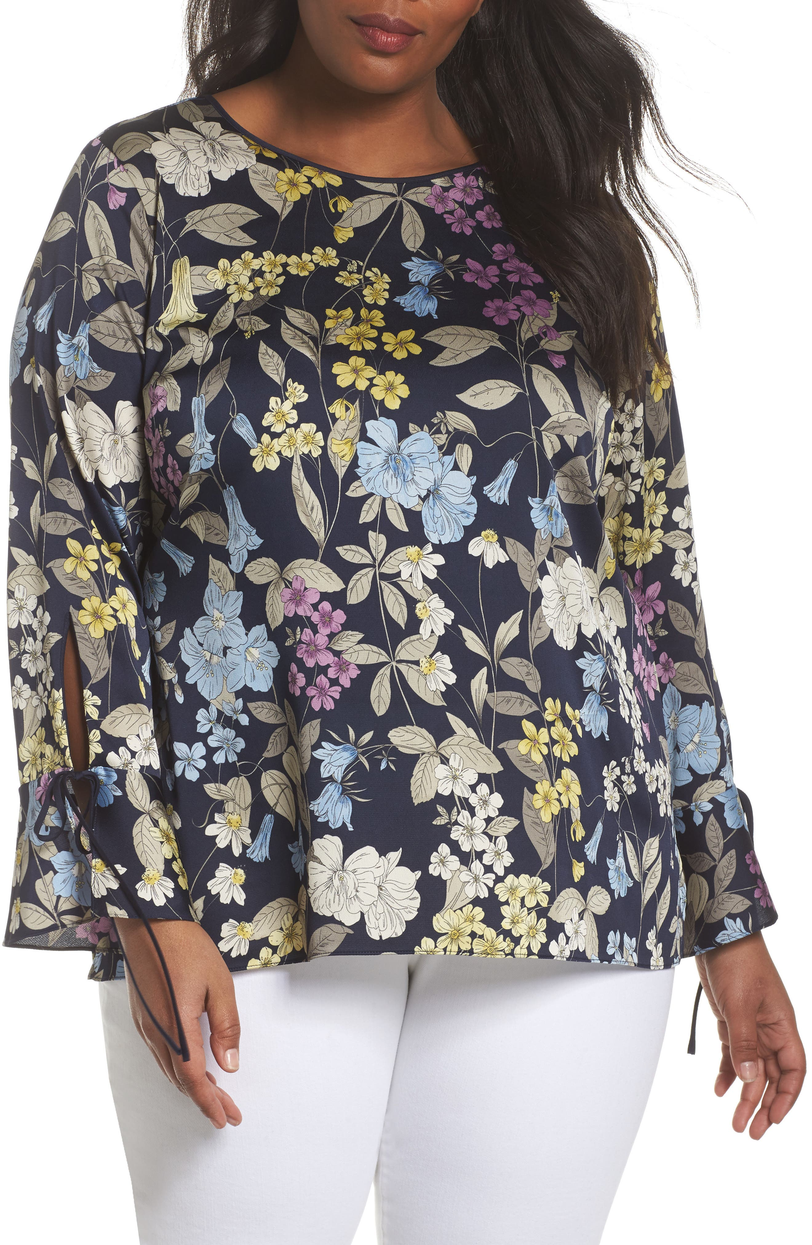 Country Floral Bell Sleeve Top,                             Main thumbnail 1, color,                             Night Sky