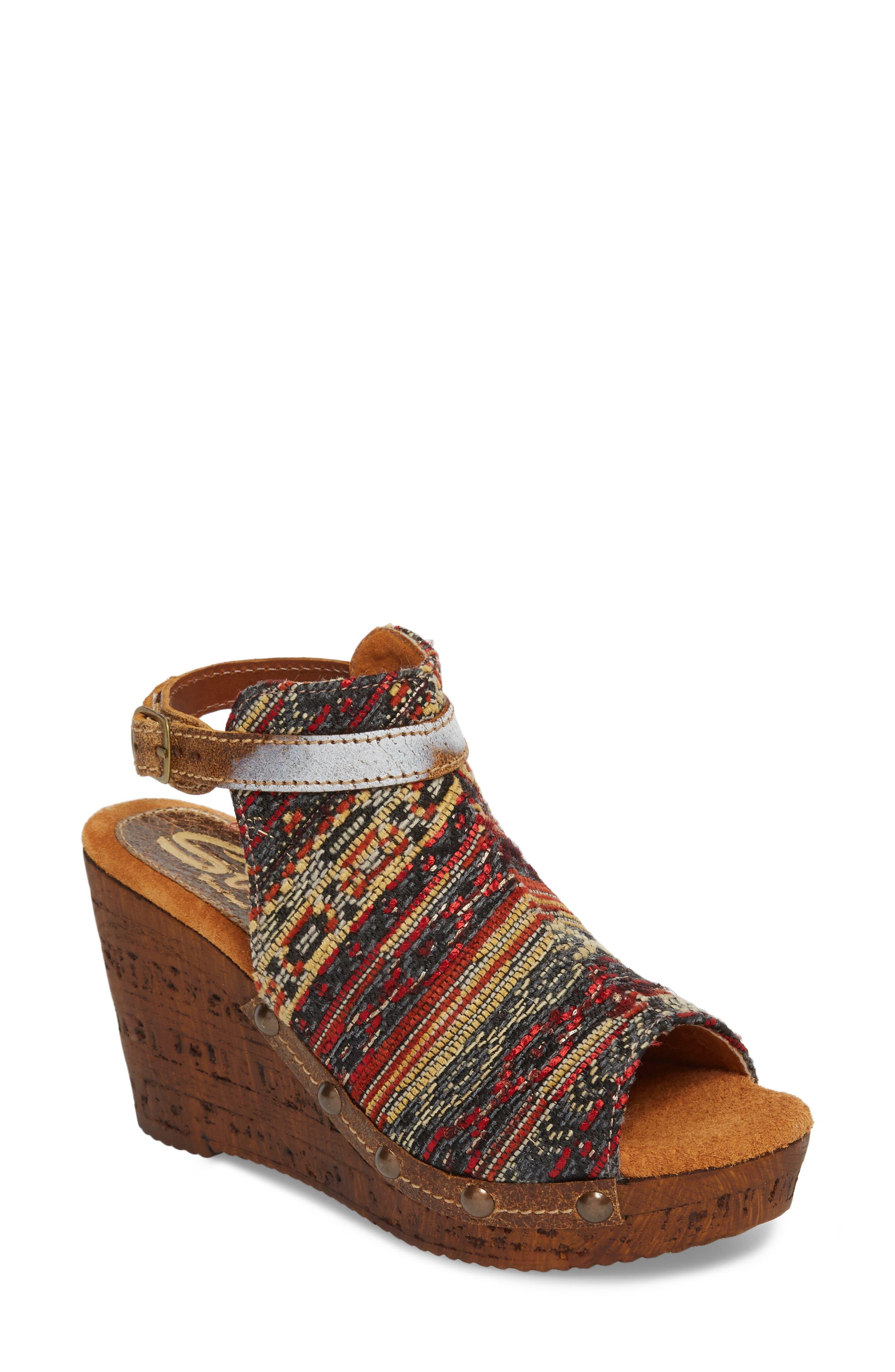 Sbicca Sabari Peep Toe Wedge Sandal (Women)