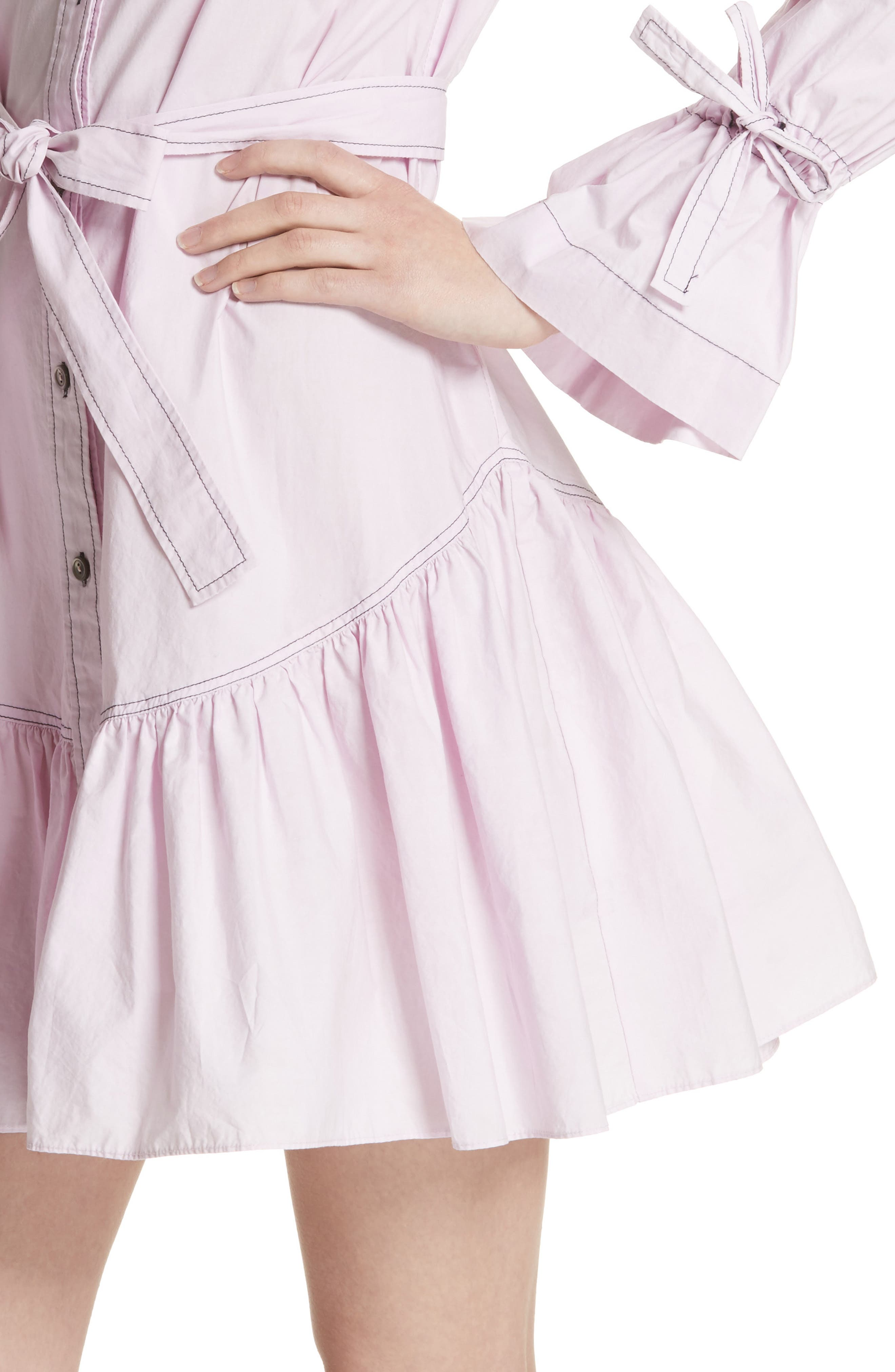 Ruffled Poplin Shirtdress,                             Alternate thumbnail 4, color,                             Lilac Dust