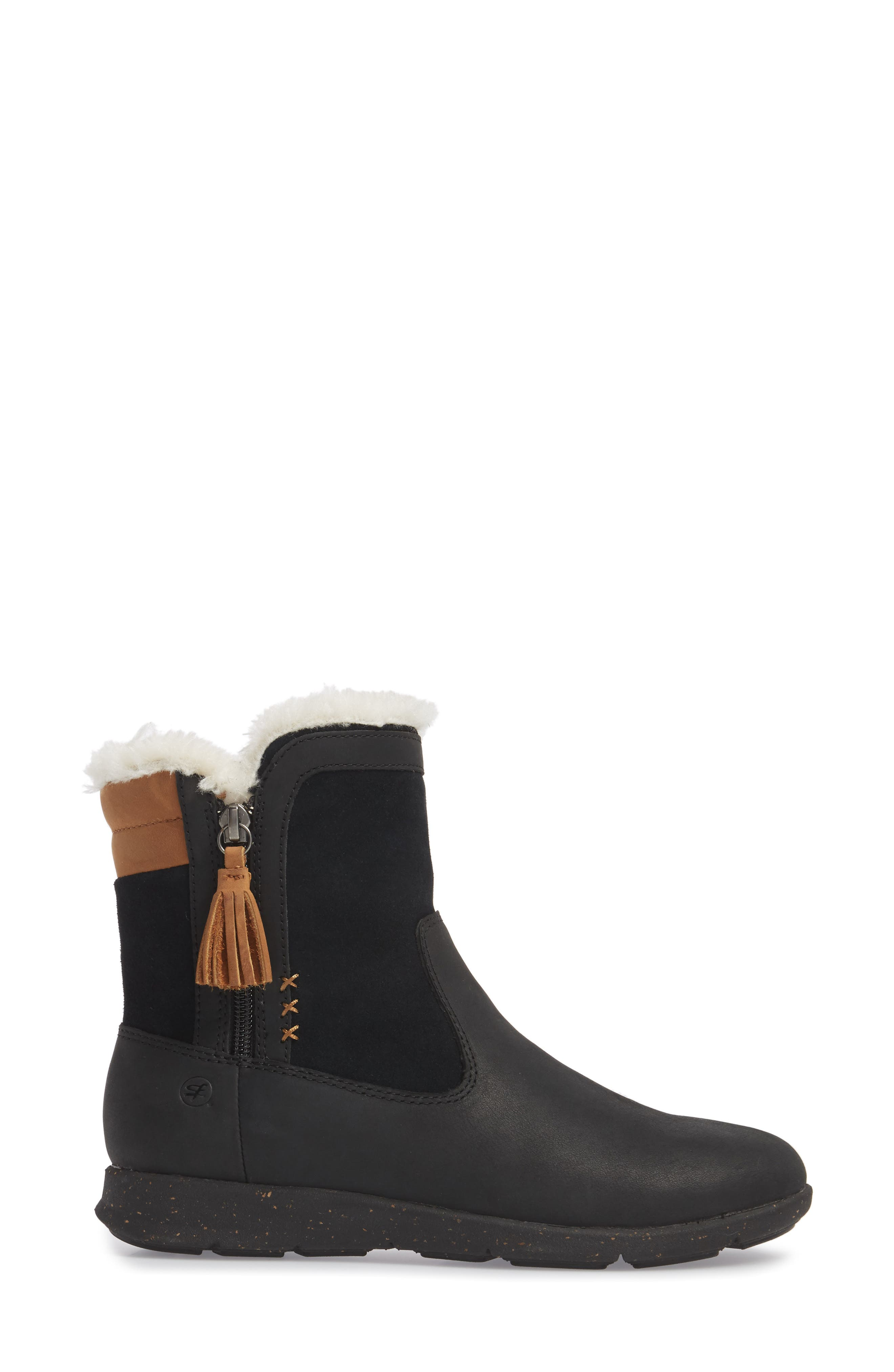 Juniper Faux Fur Lined Waterproof Bootie,                             Alternate thumbnail 3, color,                             Black Leather