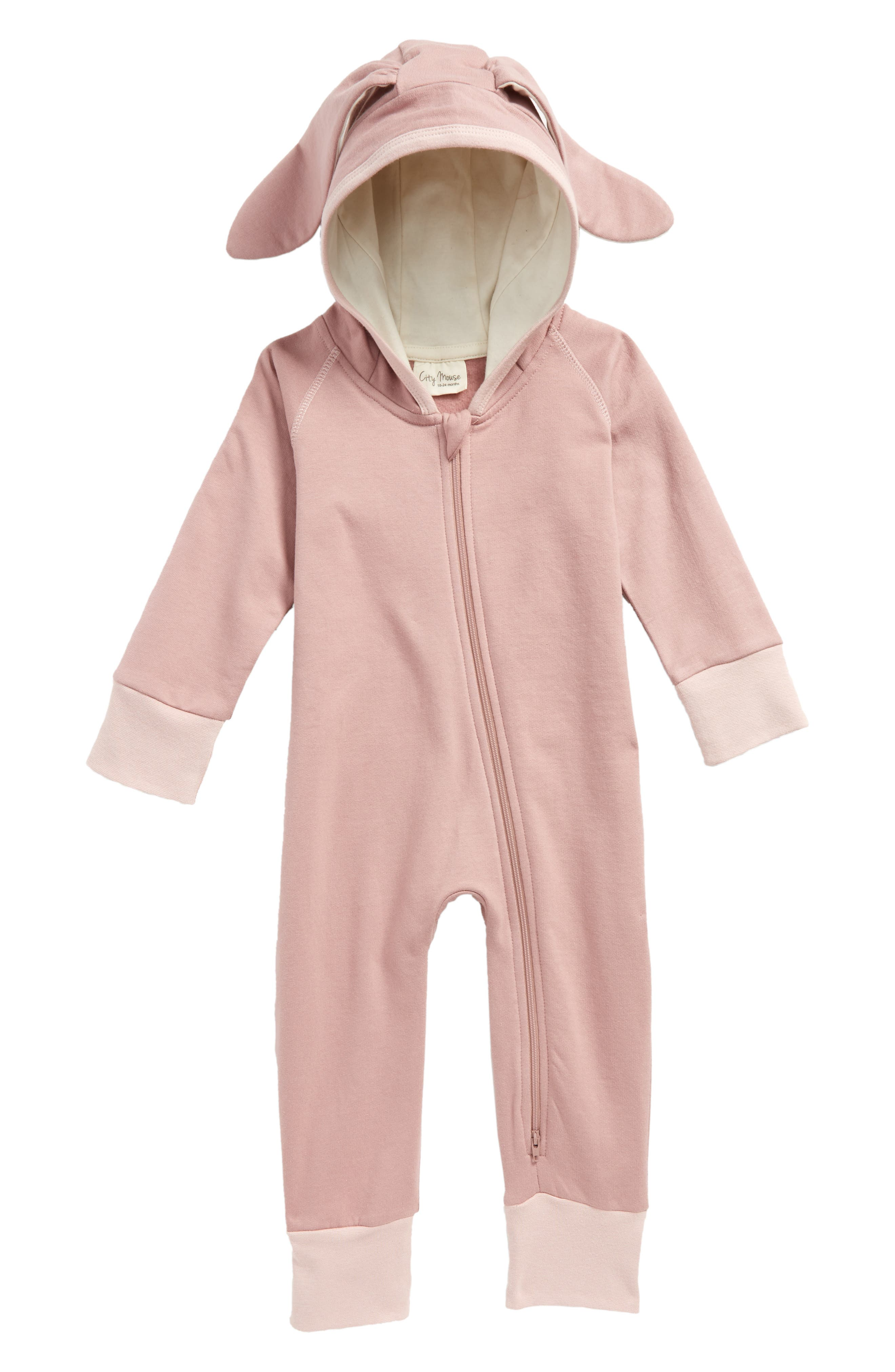 Bunny Organic Cotton Hooded Romper,                             Main thumbnail 1, color,                             Woodrose