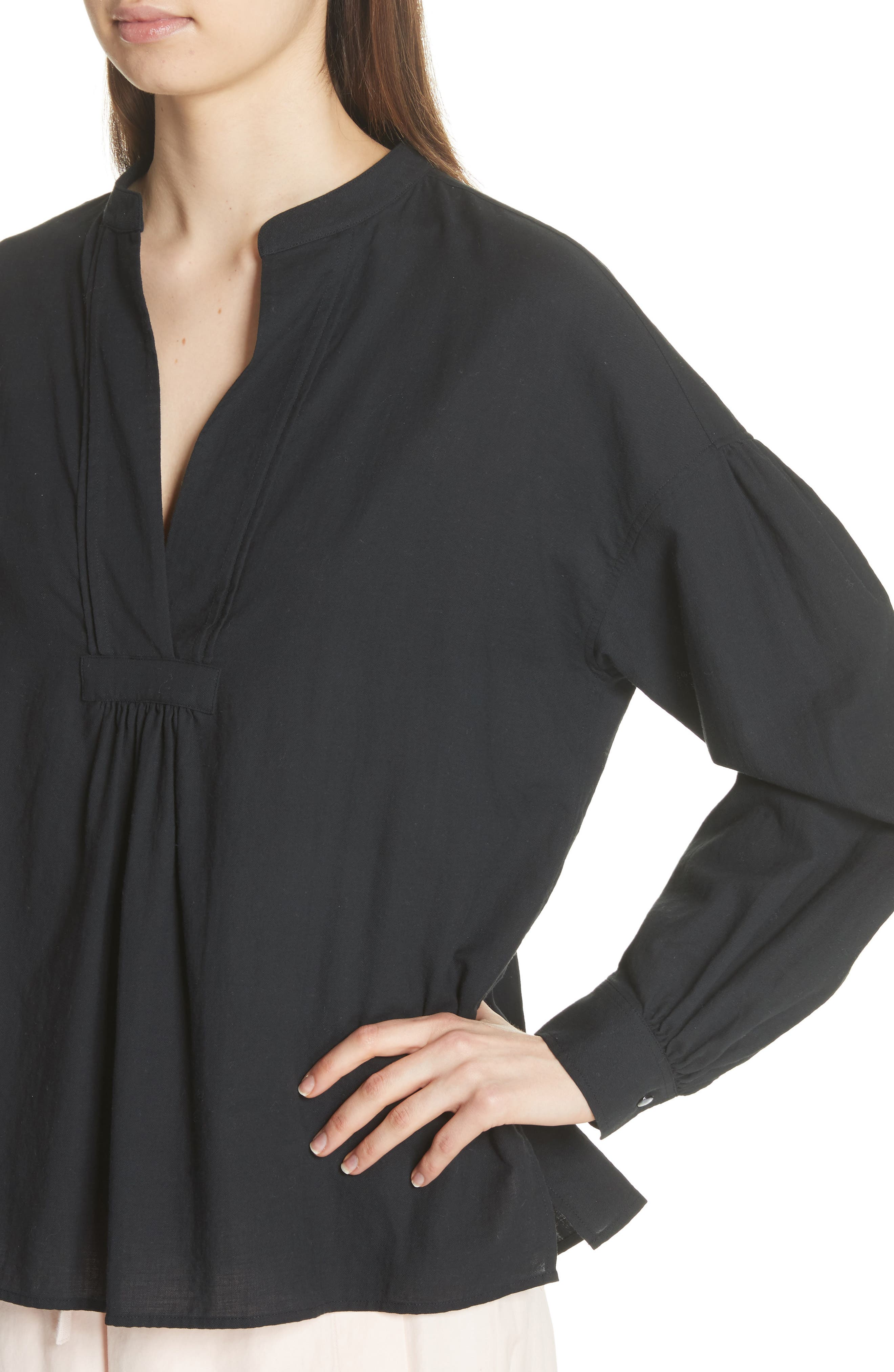 Shirred Cotton Blouse,                             Alternate thumbnail 4, color,                             Black