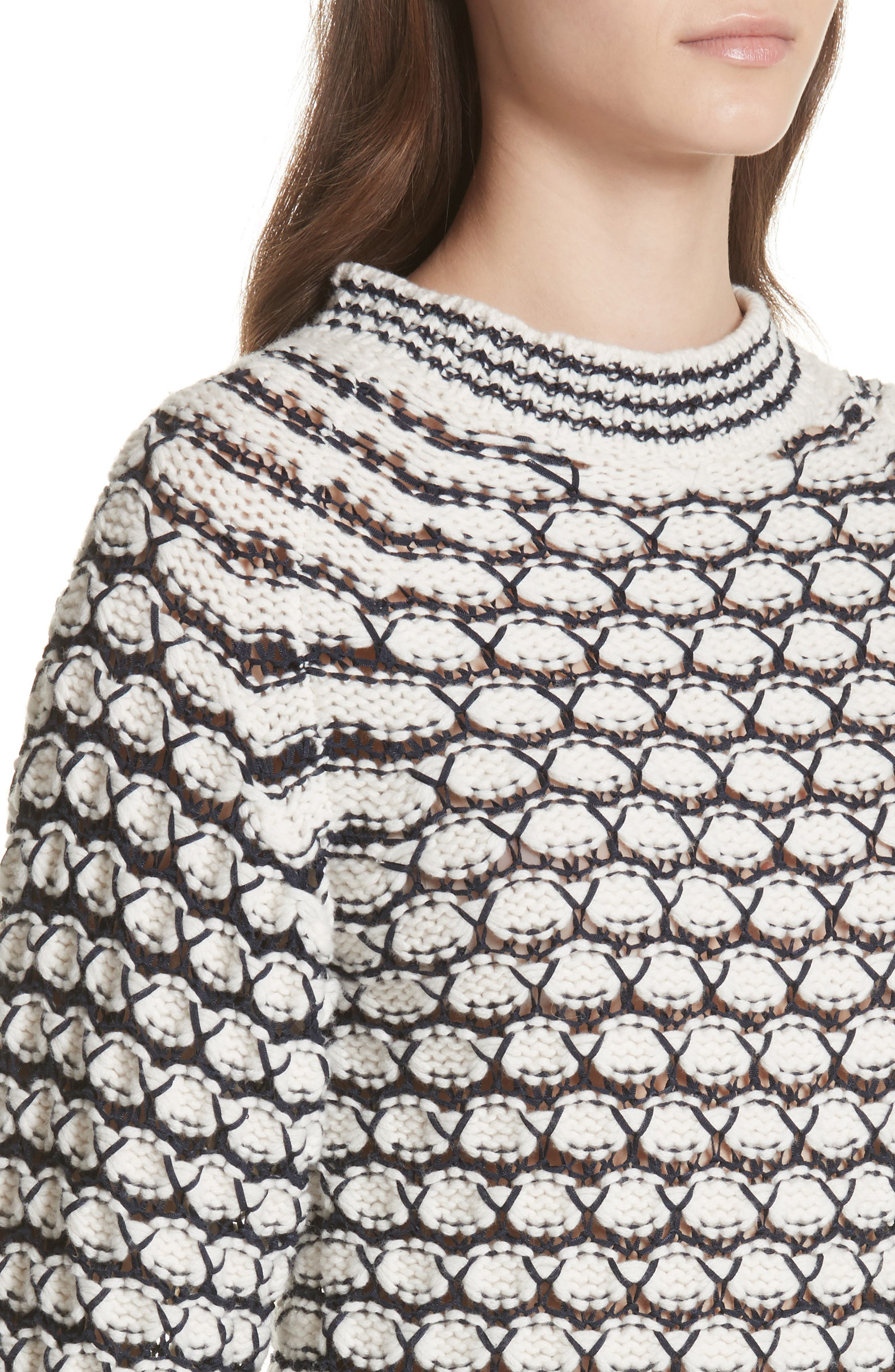 Lace Stitch Sweater,                             Alternate thumbnail 4, color,                             Cream/ Midnight Navy