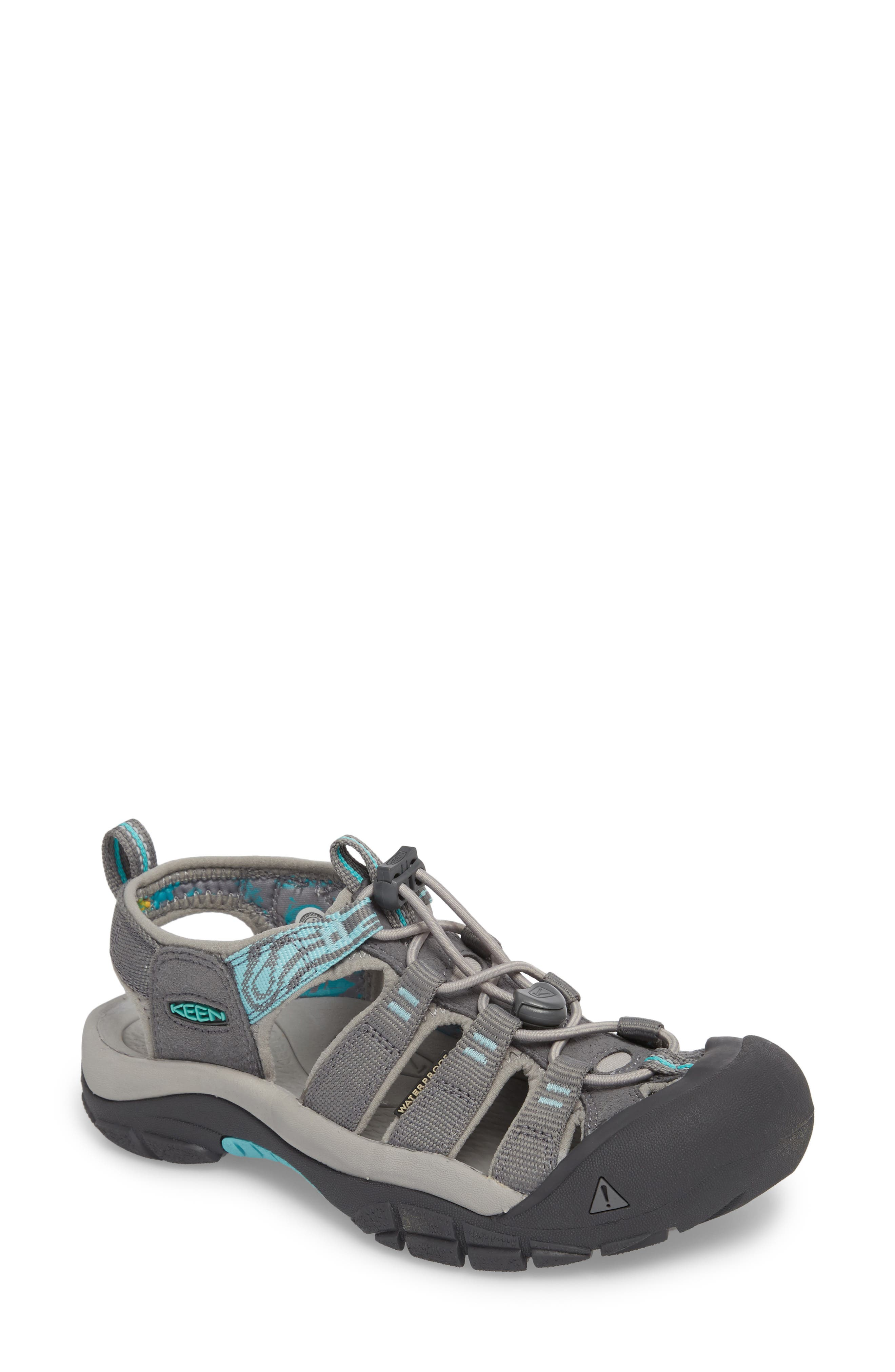 Newport Hydro Sandal,                             Main thumbnail 1, color,                             Steel Grey/ Blue Turquoise