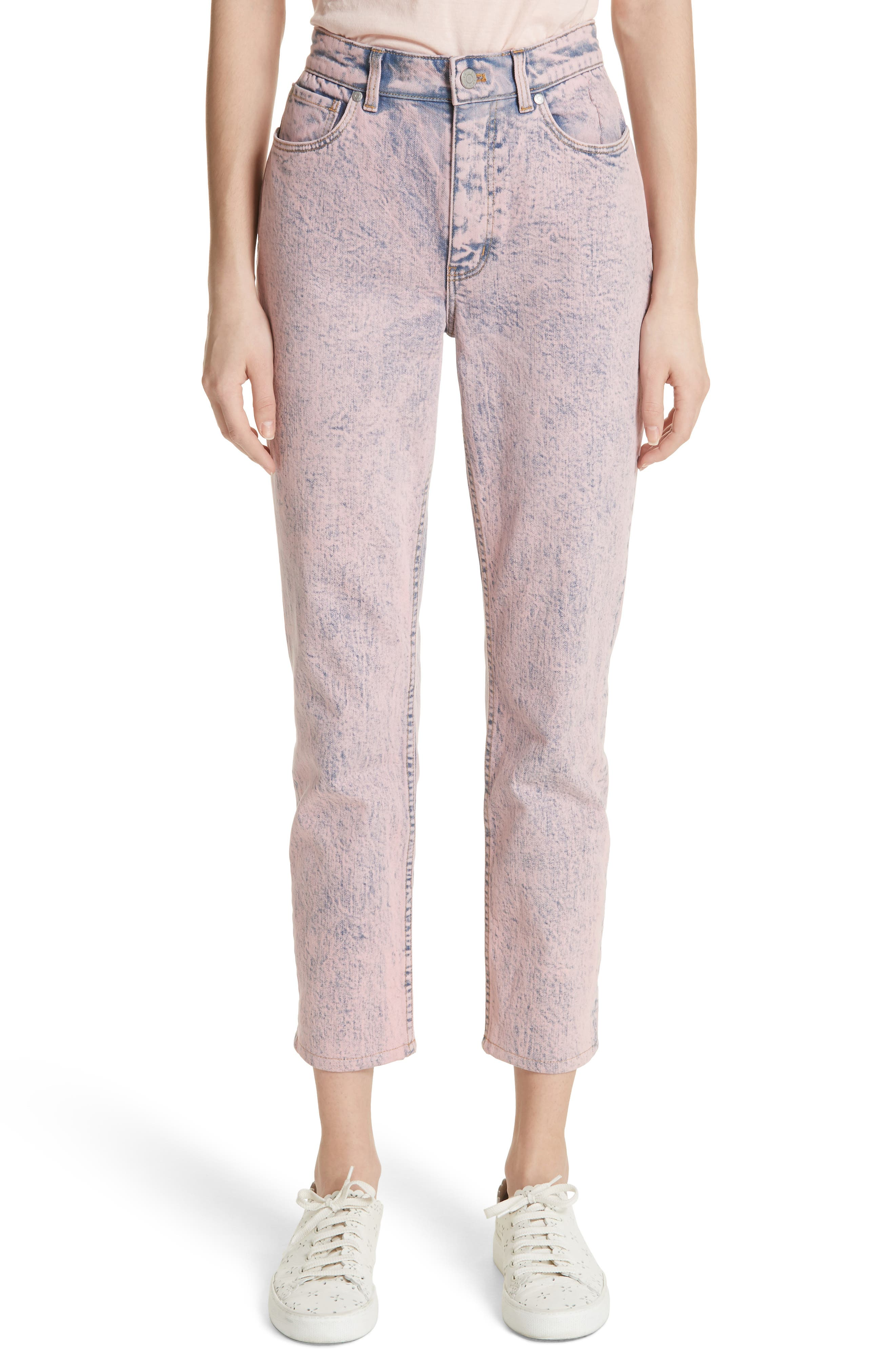 Ines Acid Wash Crop Jeans,                             Main thumbnail 1, color,                             Pink Overdyed Acid Wash