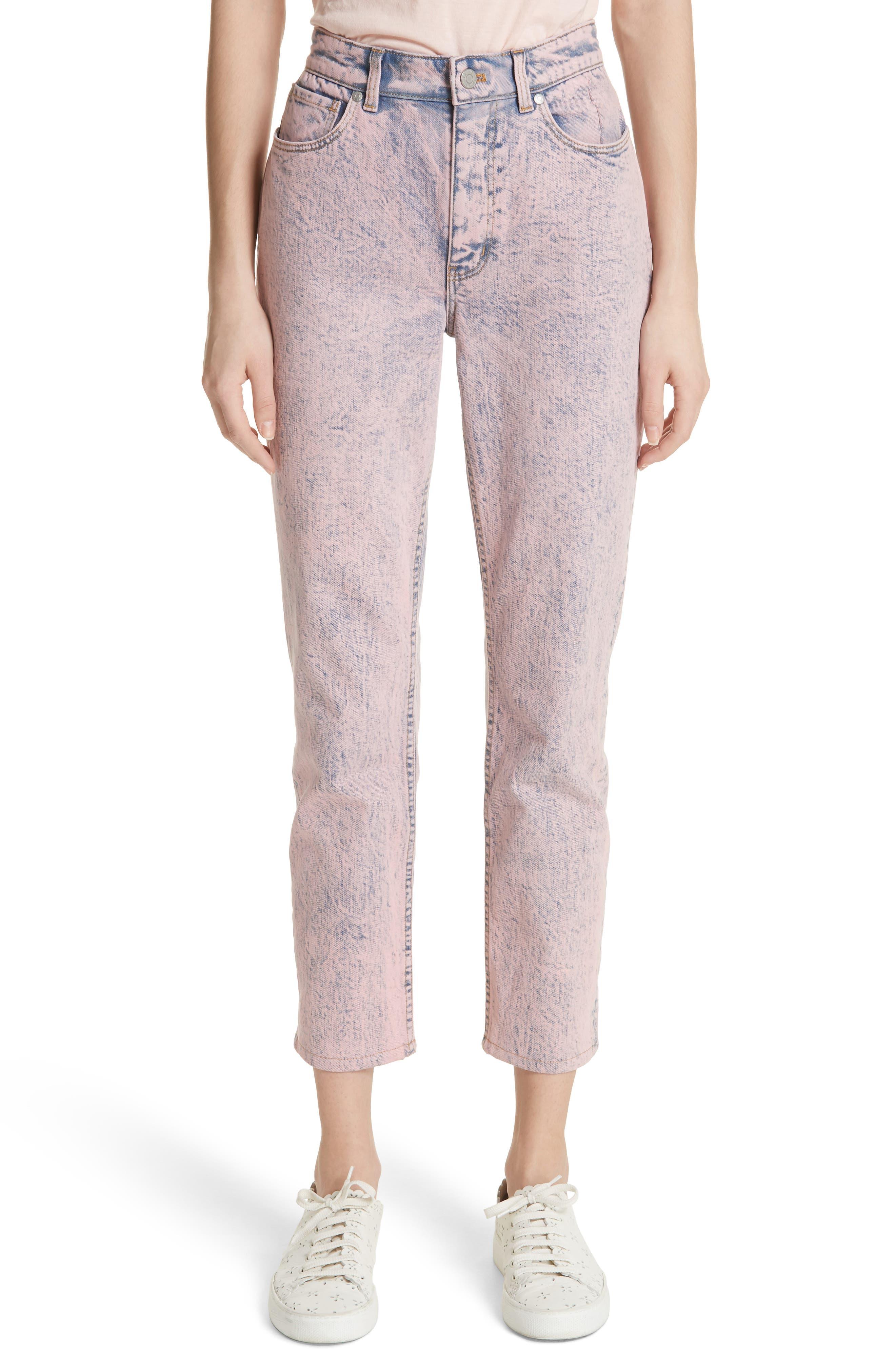 Ines Acid Wash Crop Jeans,                         Main,                         color, Pink Overdyed Acid Wash