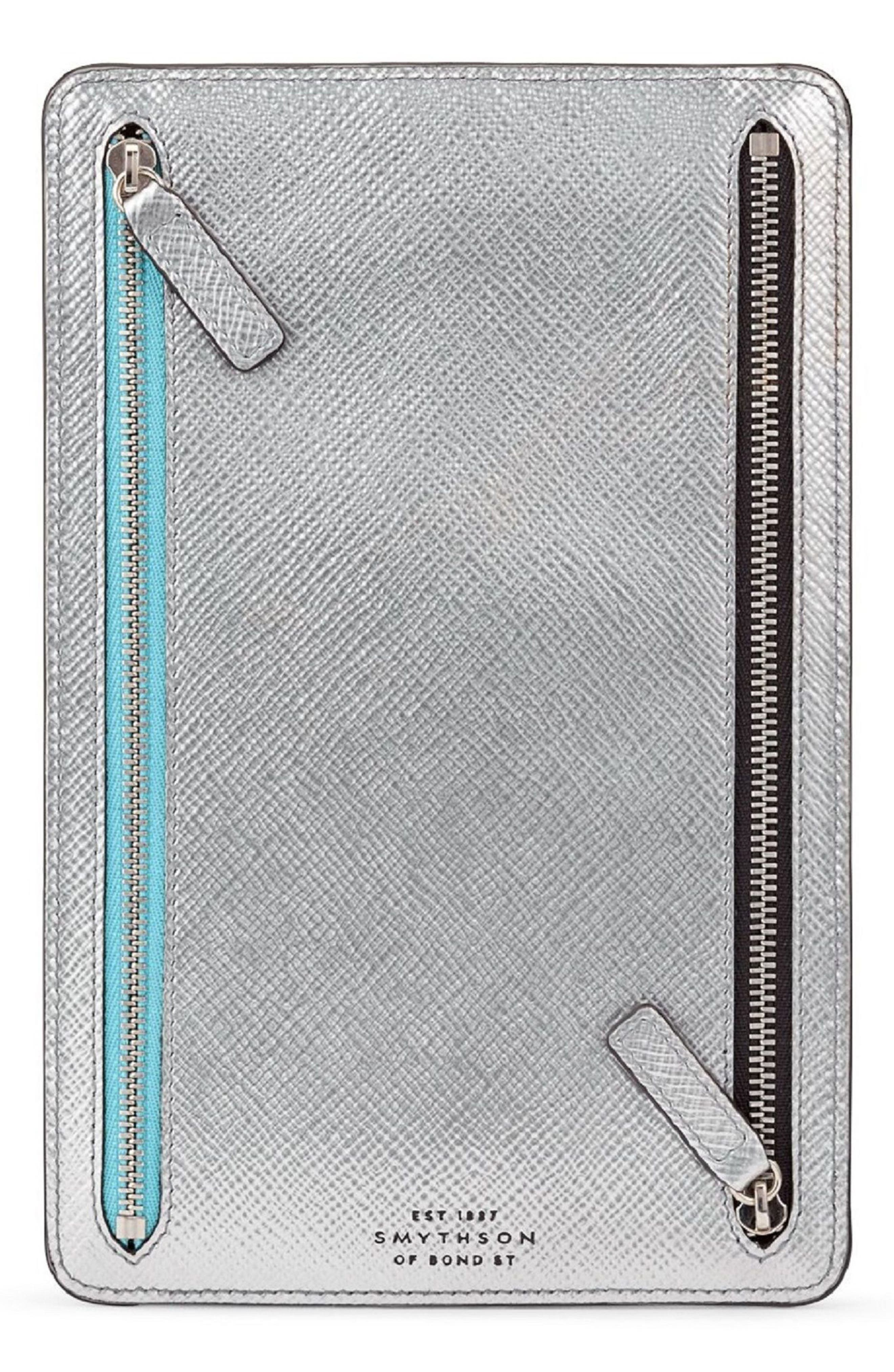 Panama Zip Leather Currency Case,                             Main thumbnail 1, color,                             Silver