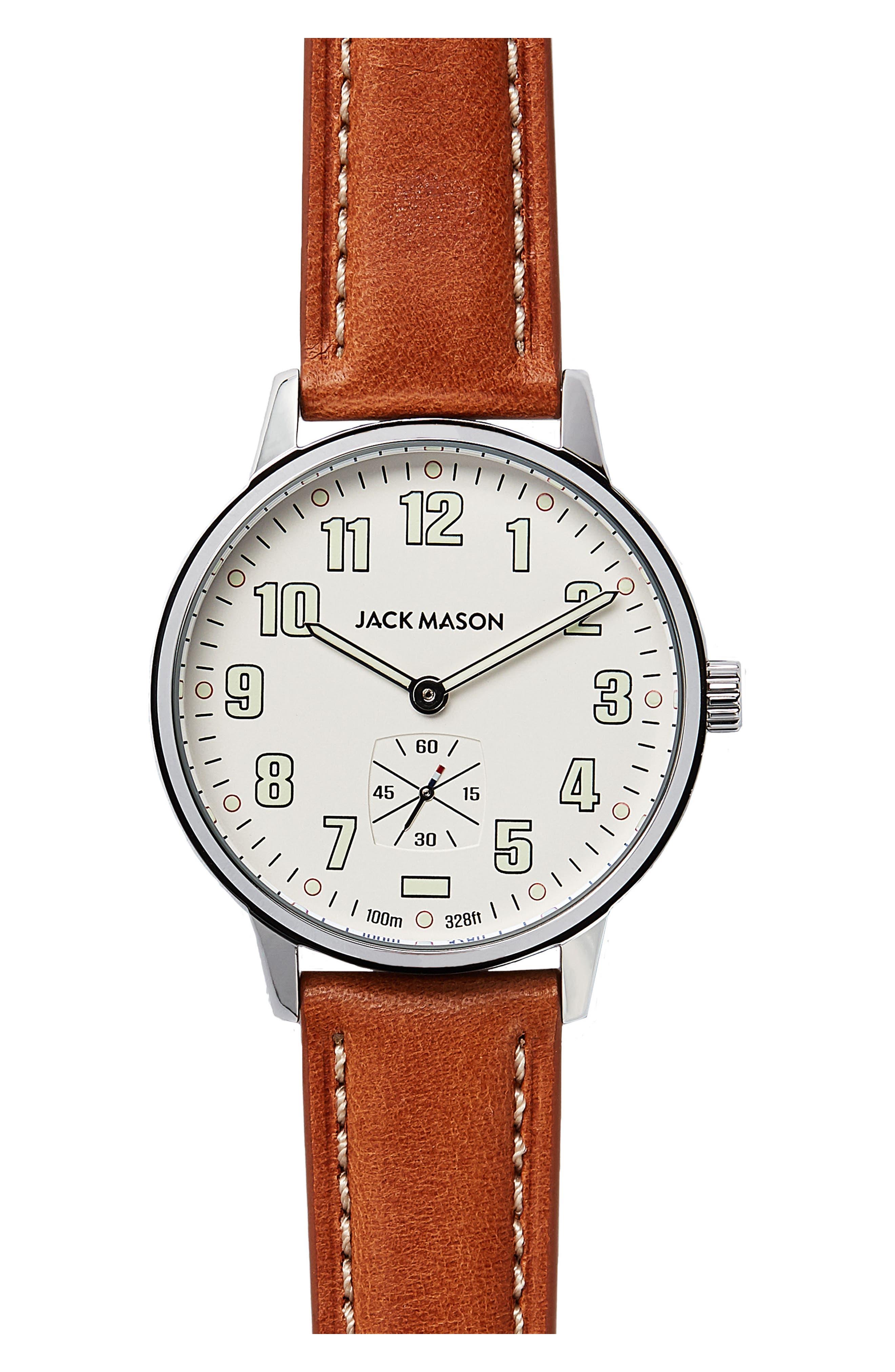 Jack Mason Field Leather Strap Watch, 38mm
