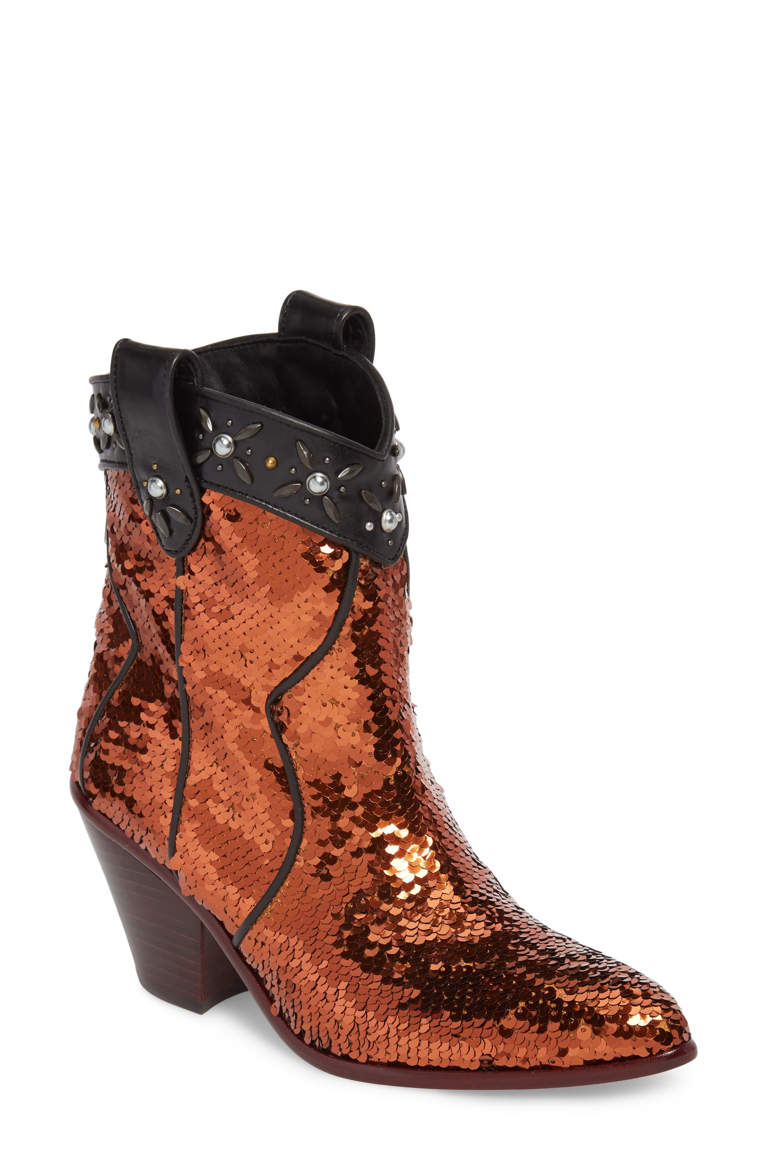 Main Image - COACH Sequin Embellished Western Bootie (Women)