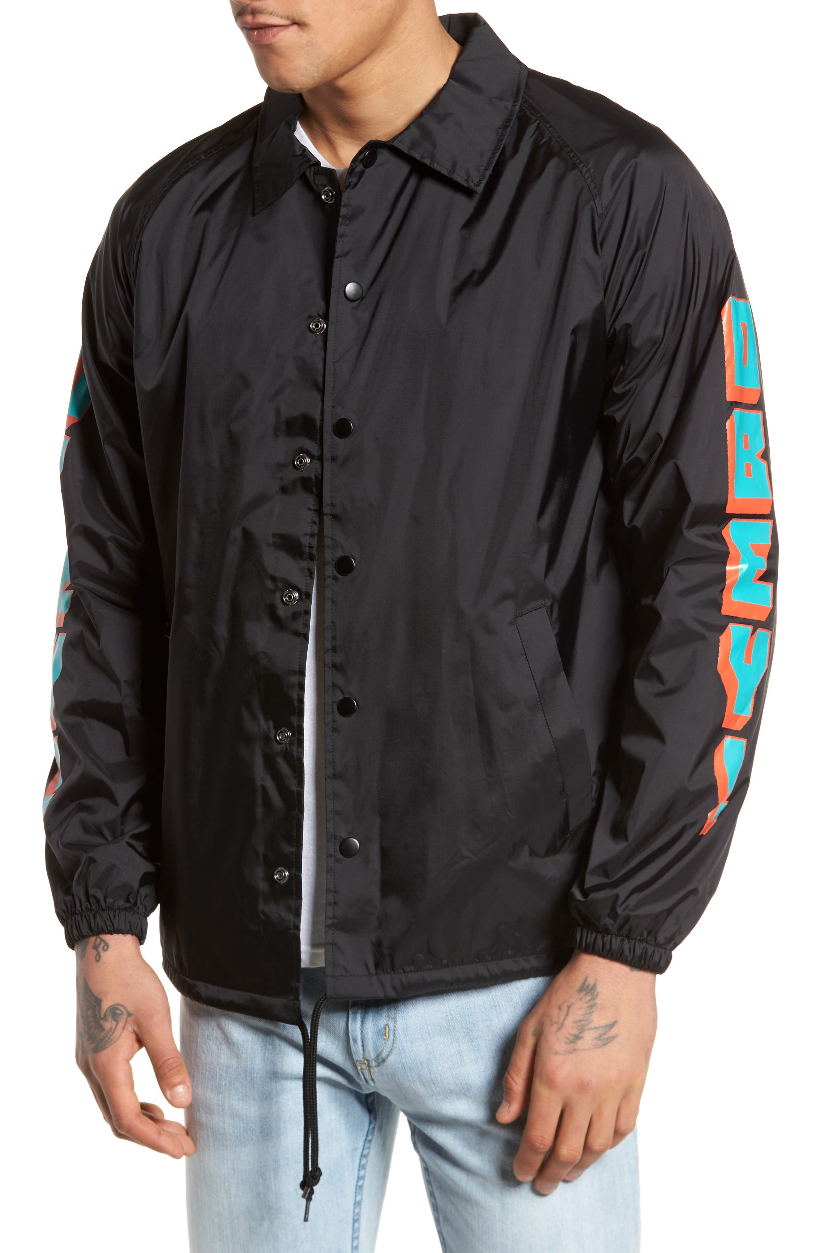 New World 2 Coach's Jacket,                         Main,                         color, Black