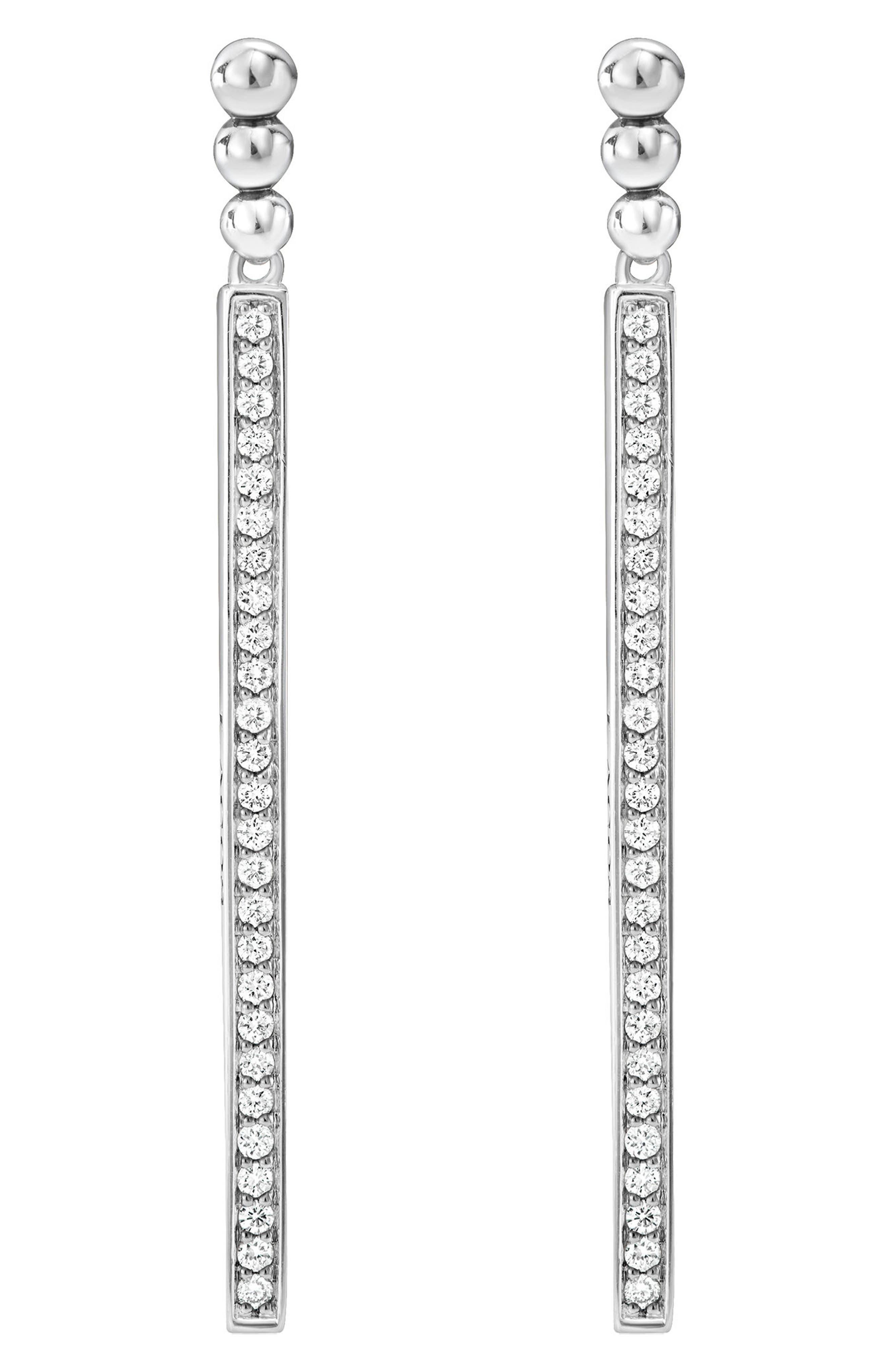 LAGOS Caviar Spark Long Diamond Drop Earrings