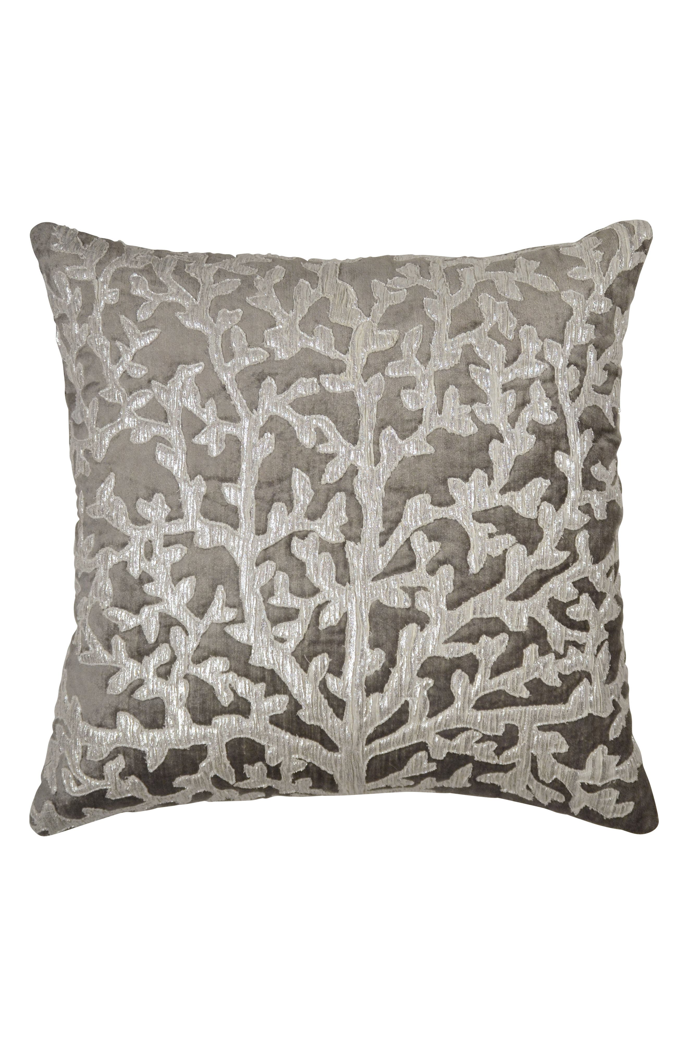 Tree of Life Appliqué Accent Pillow,                         Main,                         color, Pearl Gray