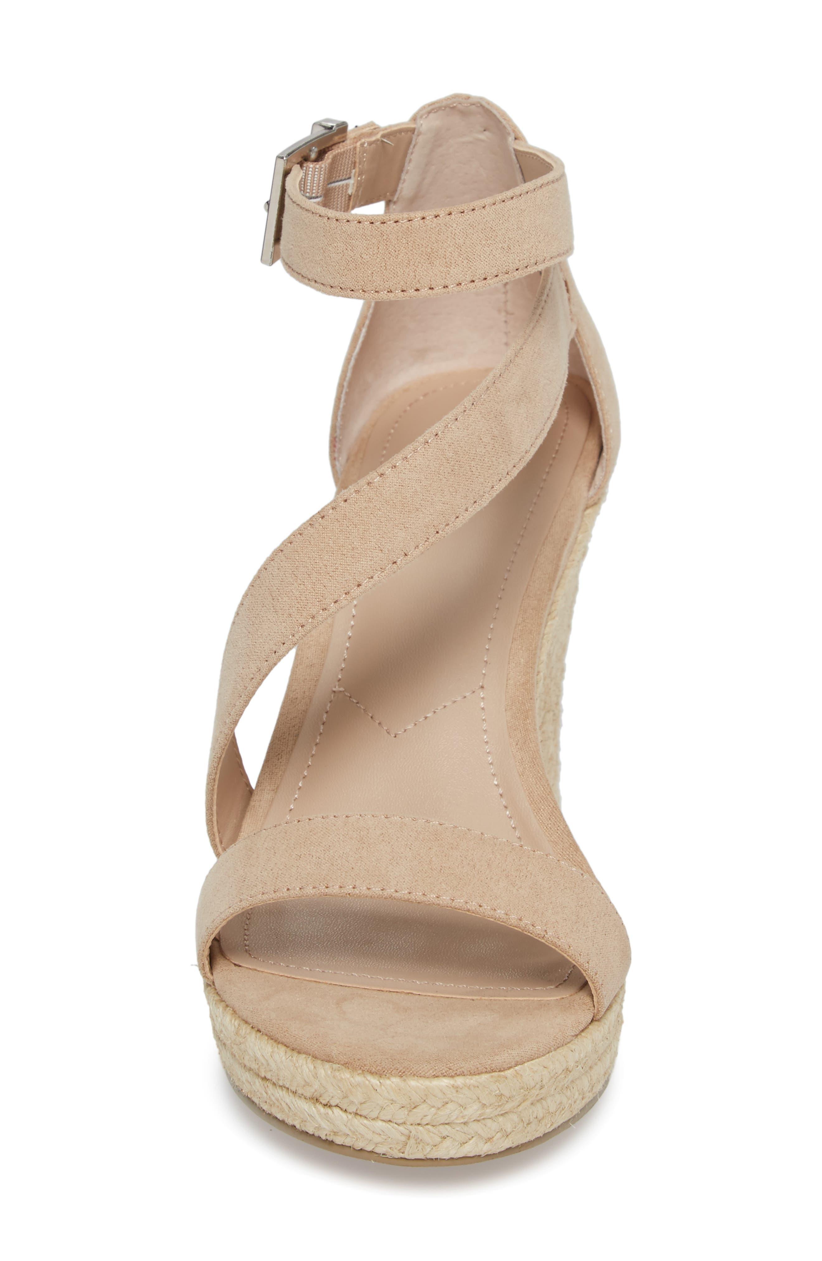 Lou Asymmetrical Wedge Sandal,                             Alternate thumbnail 4, color,                             Nude Suede
