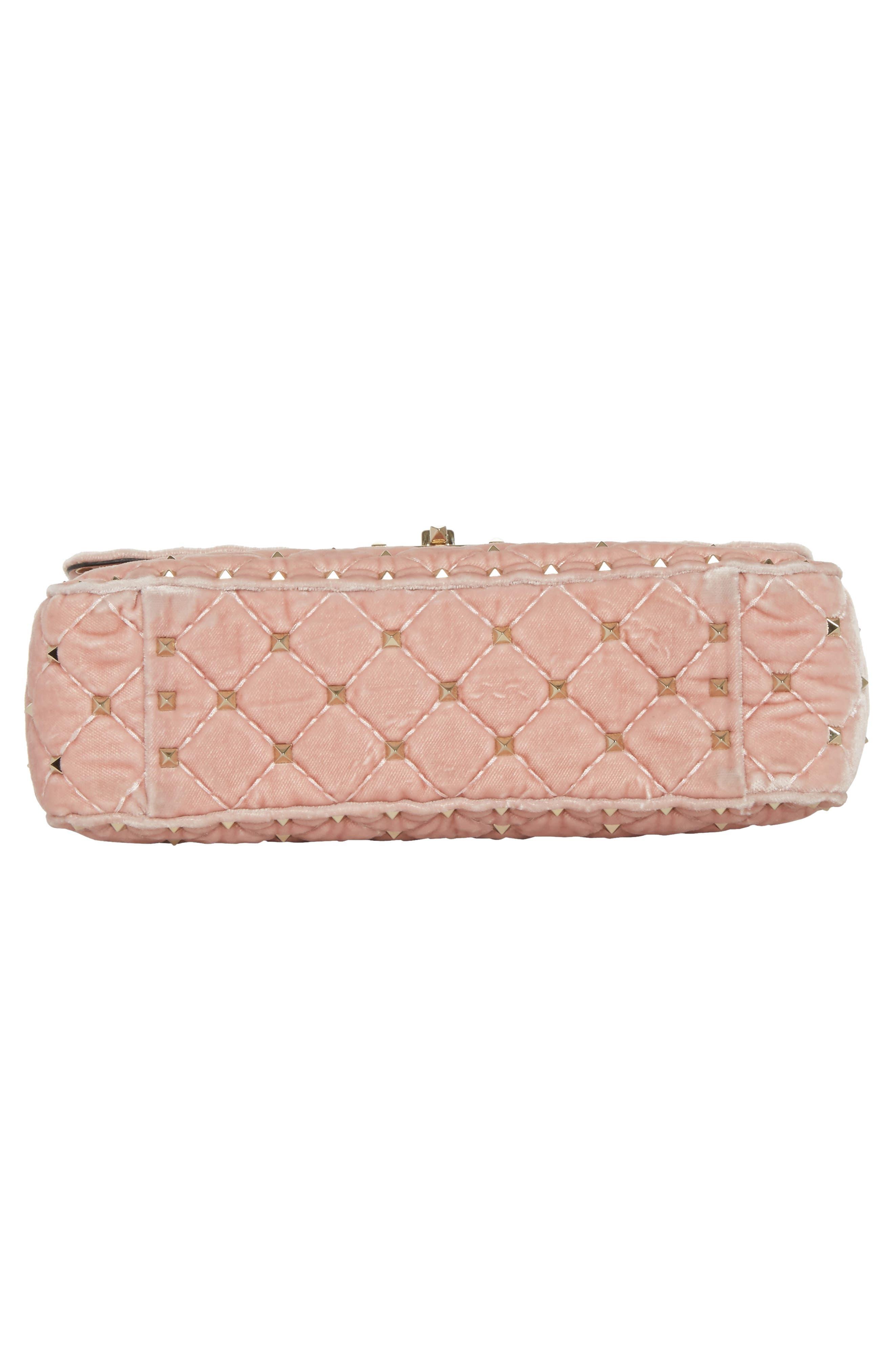 Rockstud Spike Velvet Shoulder Bag,                             Alternate thumbnail 6, color,                             Pink