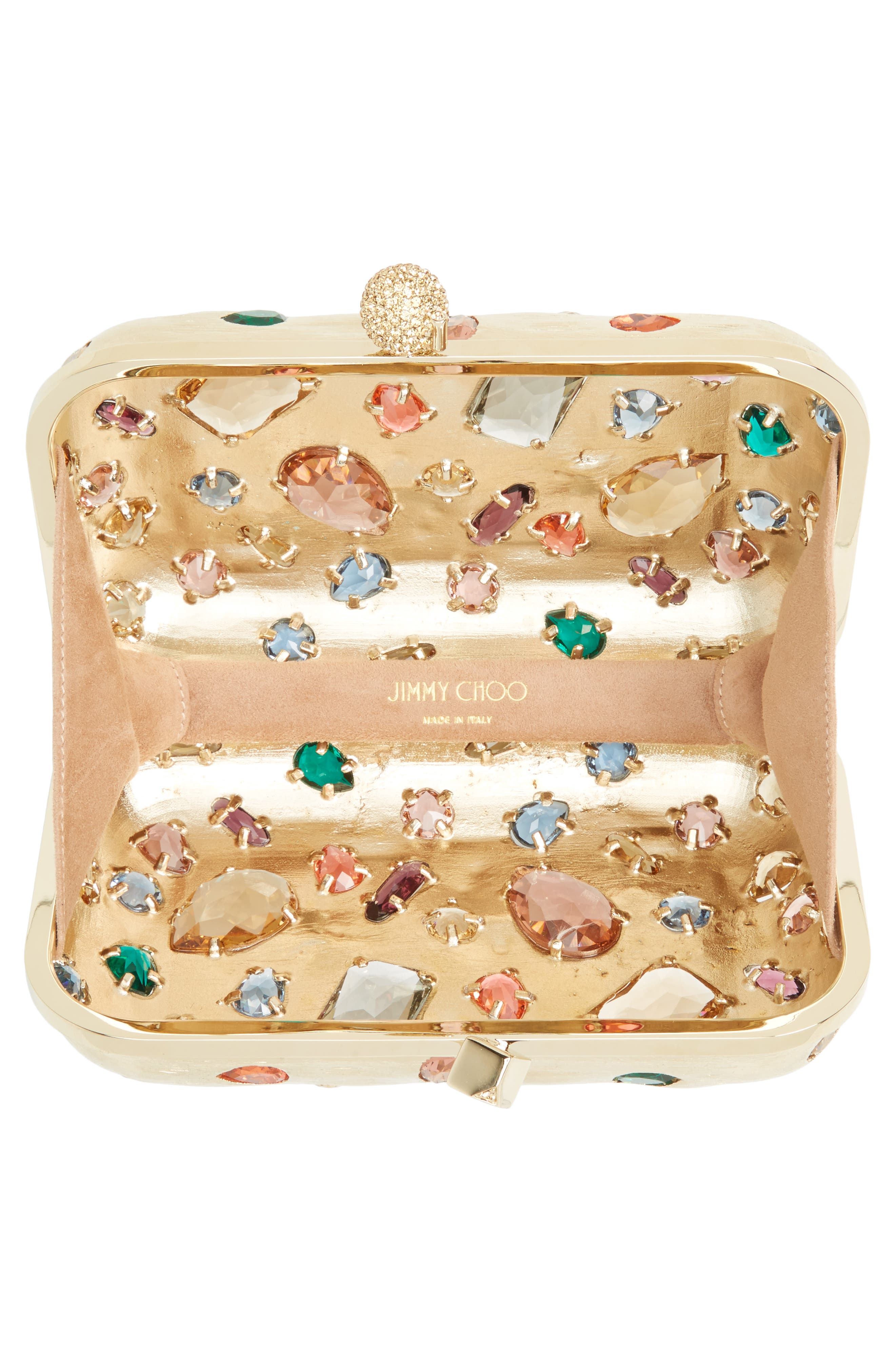 Alternate Image 4  - Jimmy Choo Cloud Minaudière Crystal Embellished Metallic Box Clutch