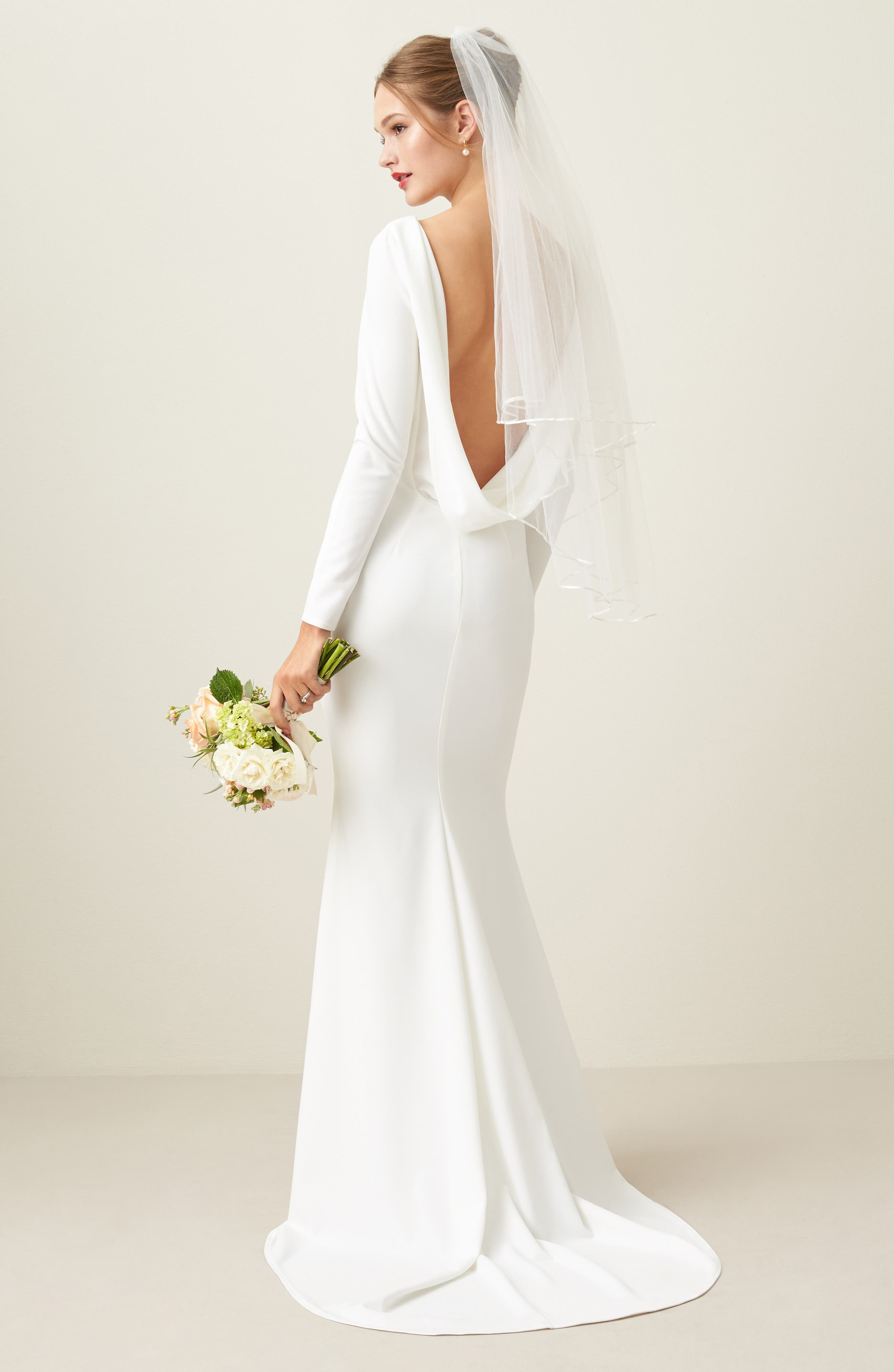 Cowl Back Crepe Gown,                             Alternate thumbnail 8, color,                             Ivory