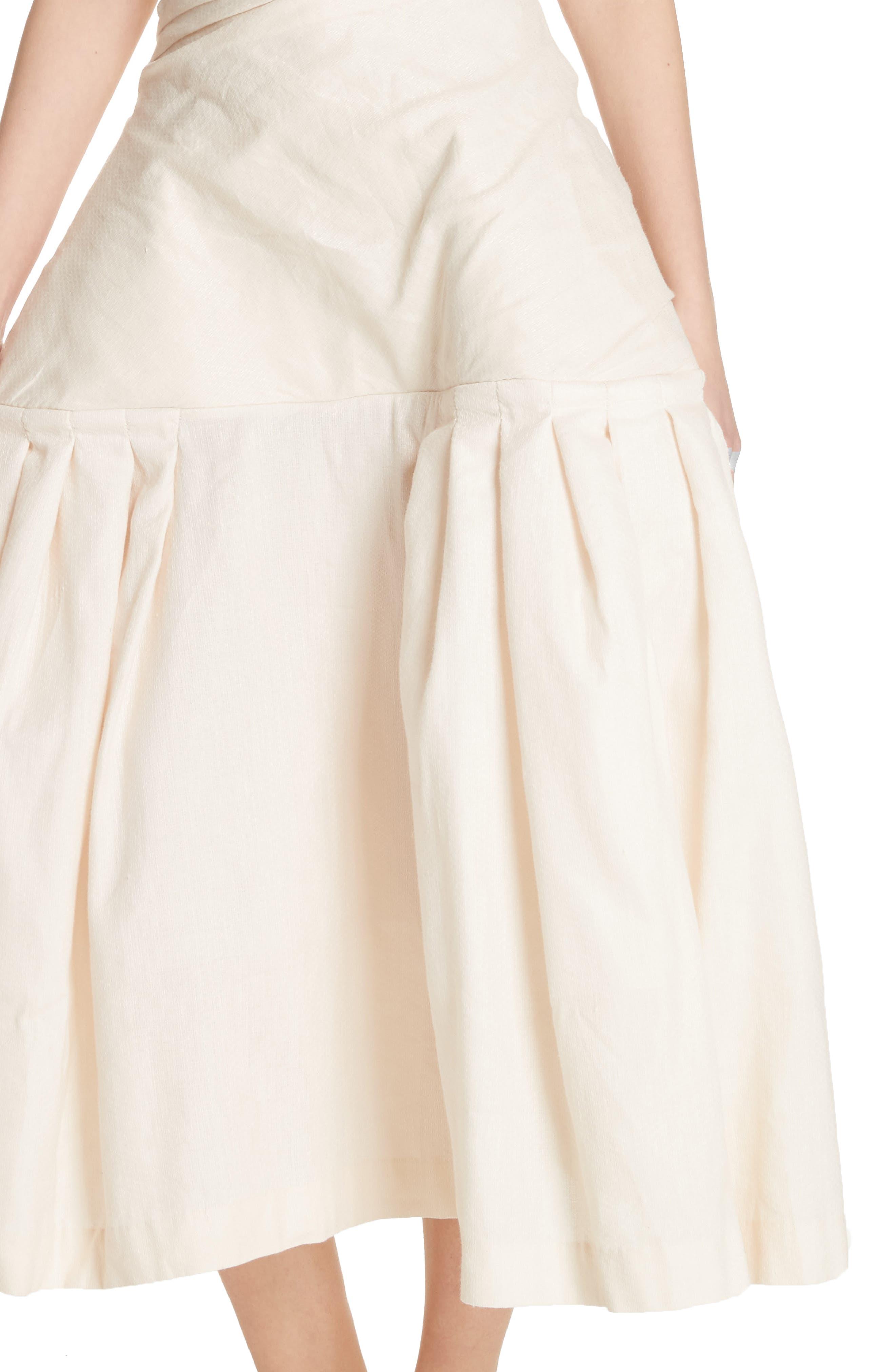 La Robe Limao Linen & Cotton Trumpet Dress,                             Alternate thumbnail 4, color,                             Beige