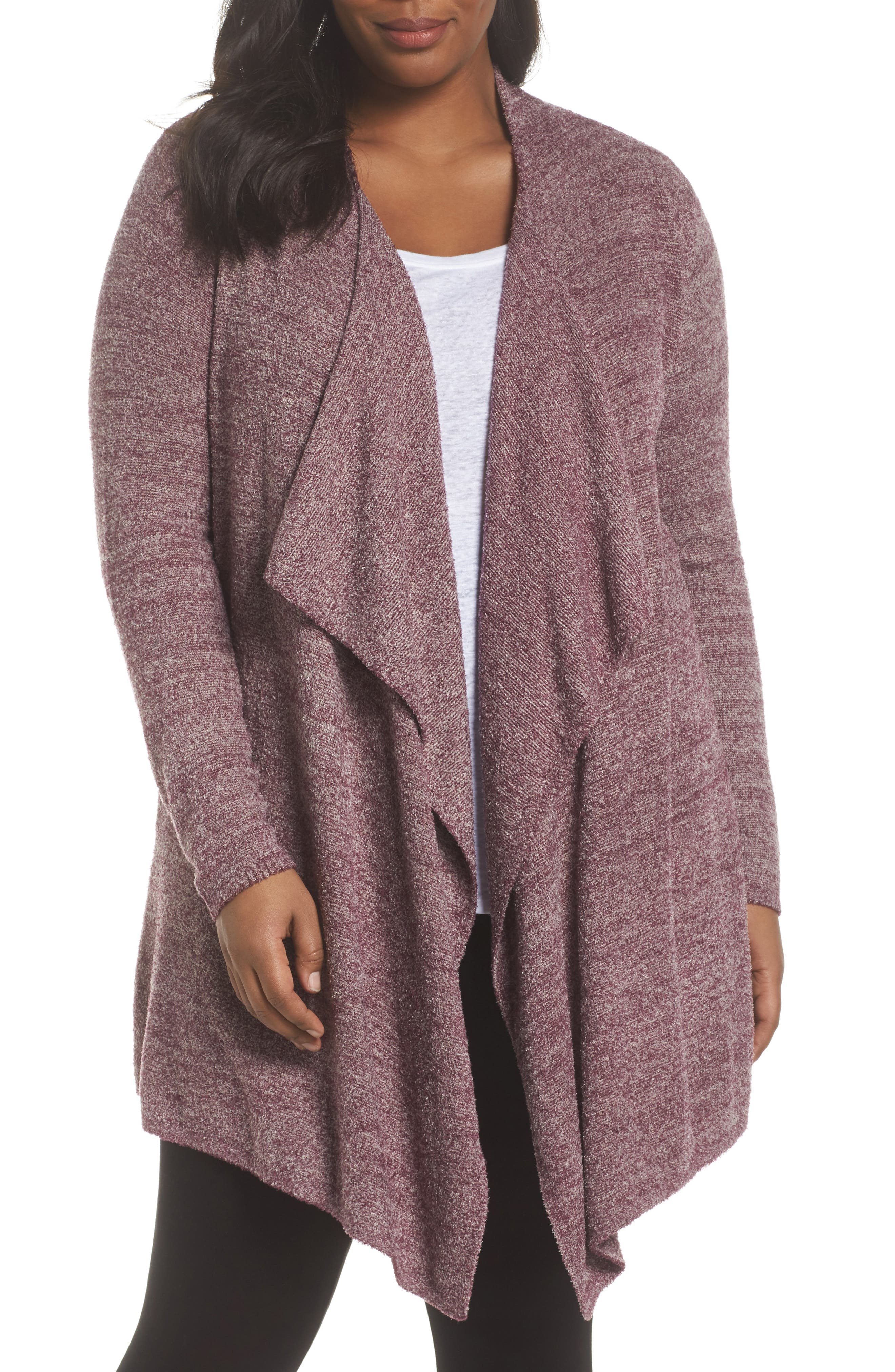 CozyChic Lite<sup>®</sup> Calypso Wrap Cardigan,                             Main thumbnail 1, color,                             Burgundy/ Stone