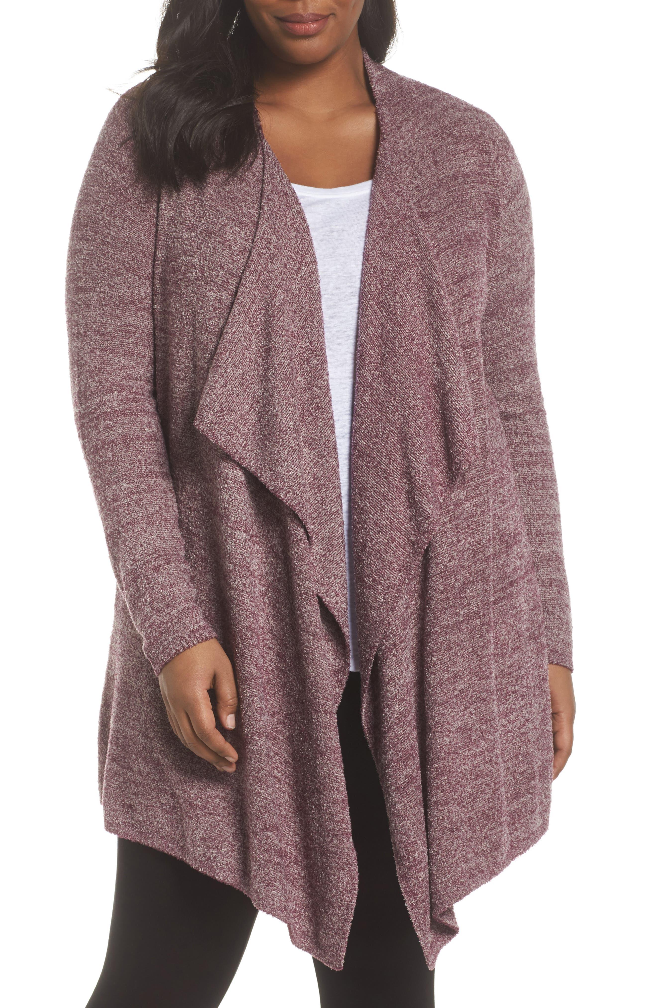 CozyChic Lite<sup>®</sup> Calypso Wrap Cardigan,                         Main,                         color, Burgundy/ Stone