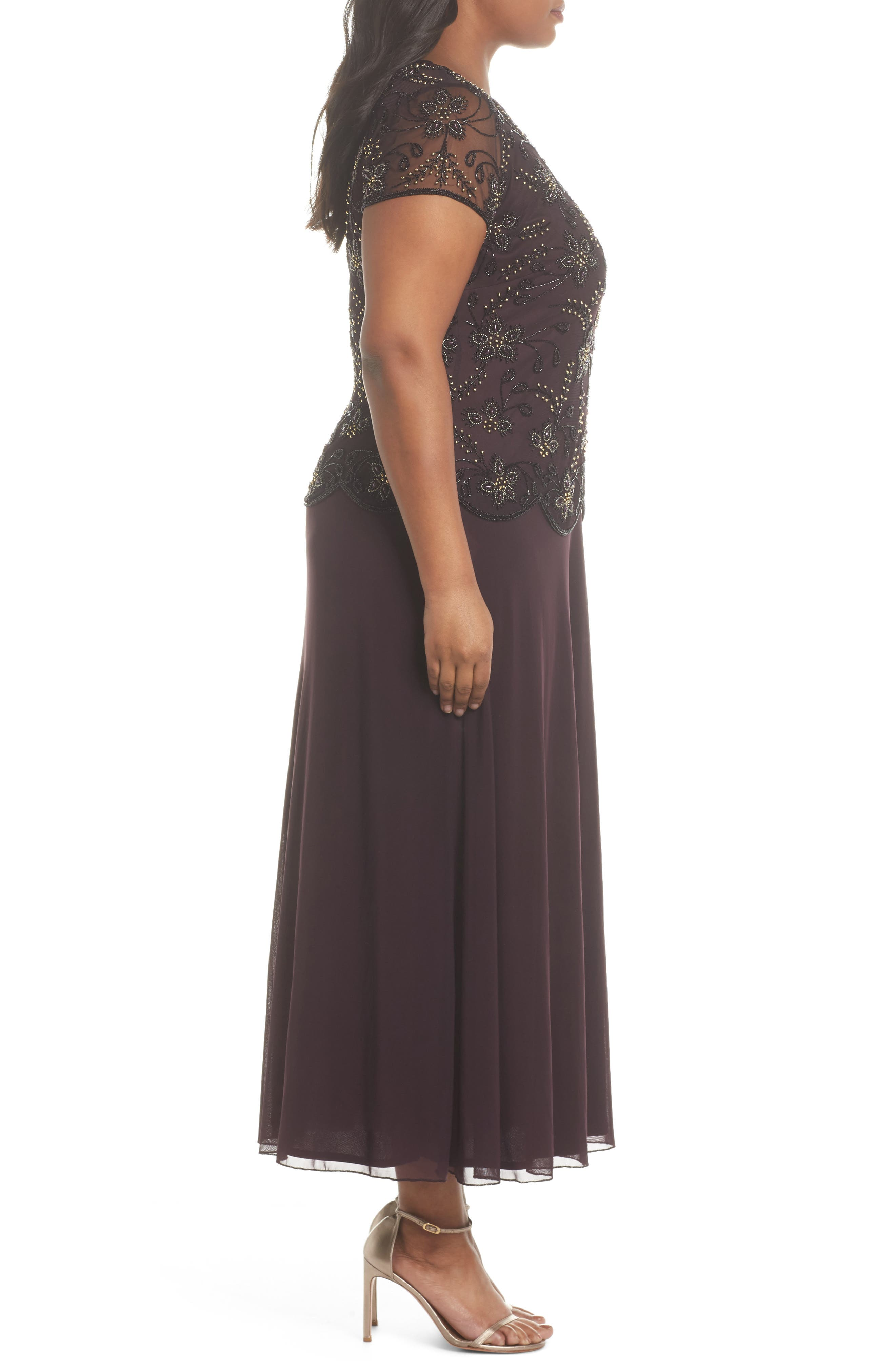 Embellished Mock Two-Piece Maxi Dress,                             Alternate thumbnail 3, color,                             Wine