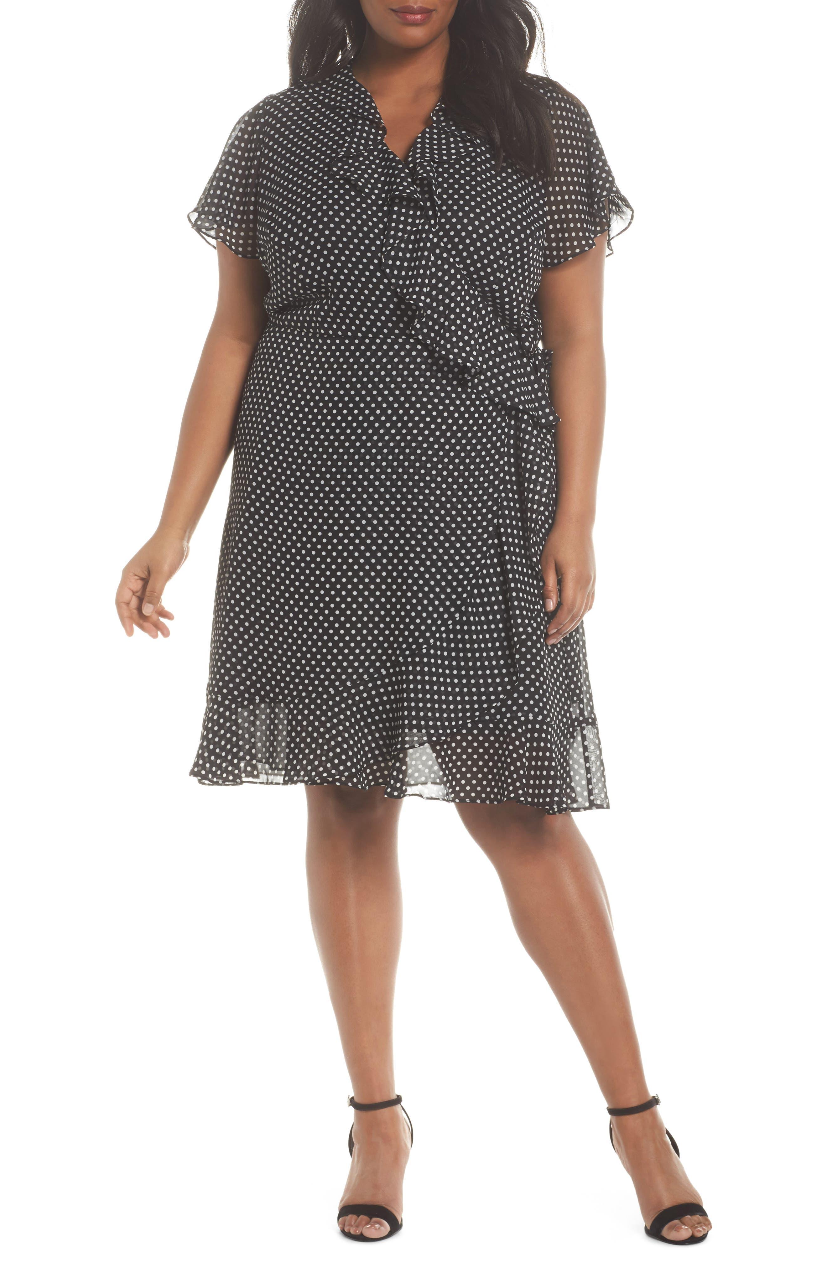 Polka Dot Faux Wrap Ruffle Dress,                         Main,                         color, Black/ Ivory