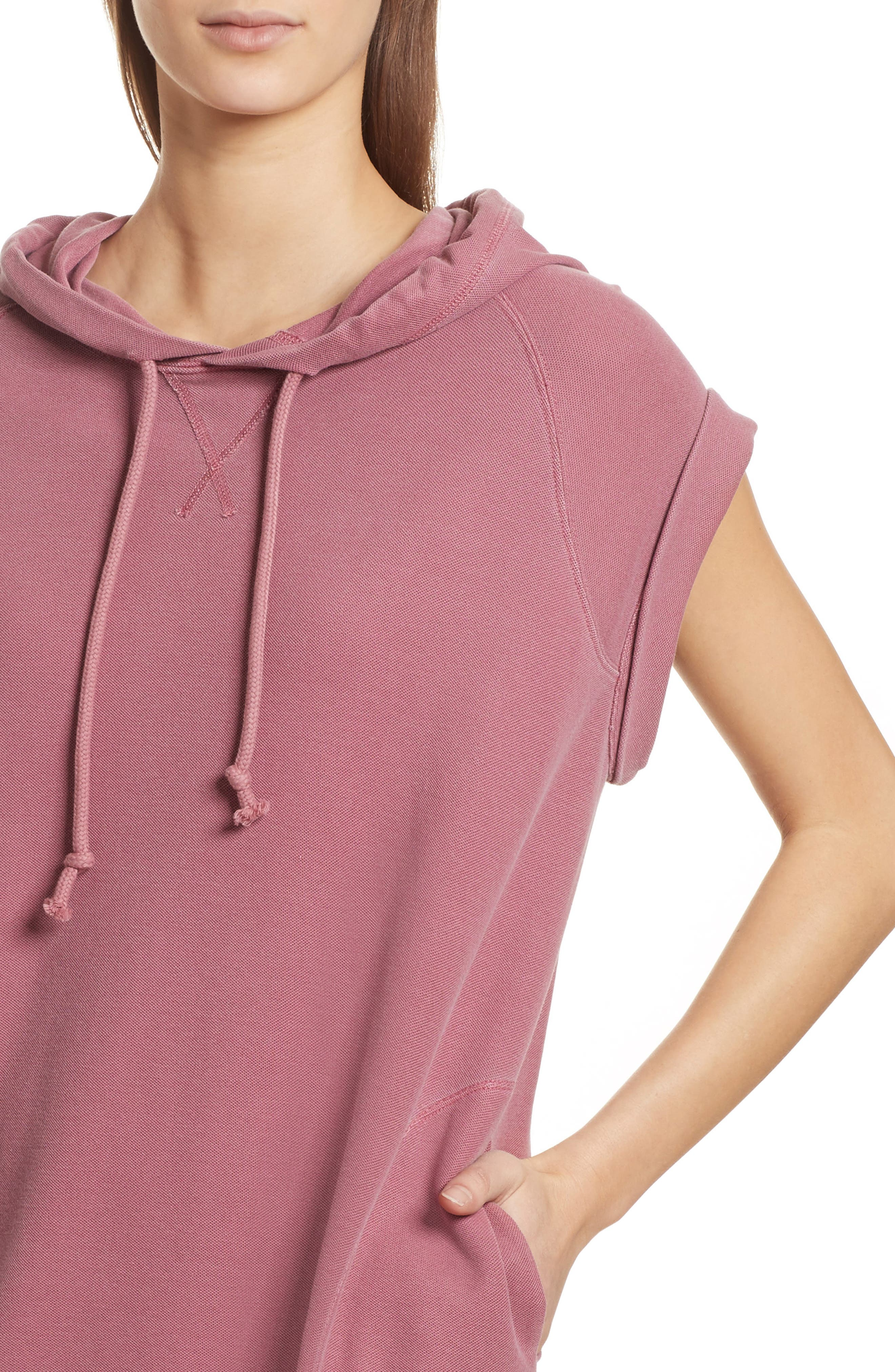 Piqué Hooded Dress,                             Alternate thumbnail 4, color,                             Nantucket Red