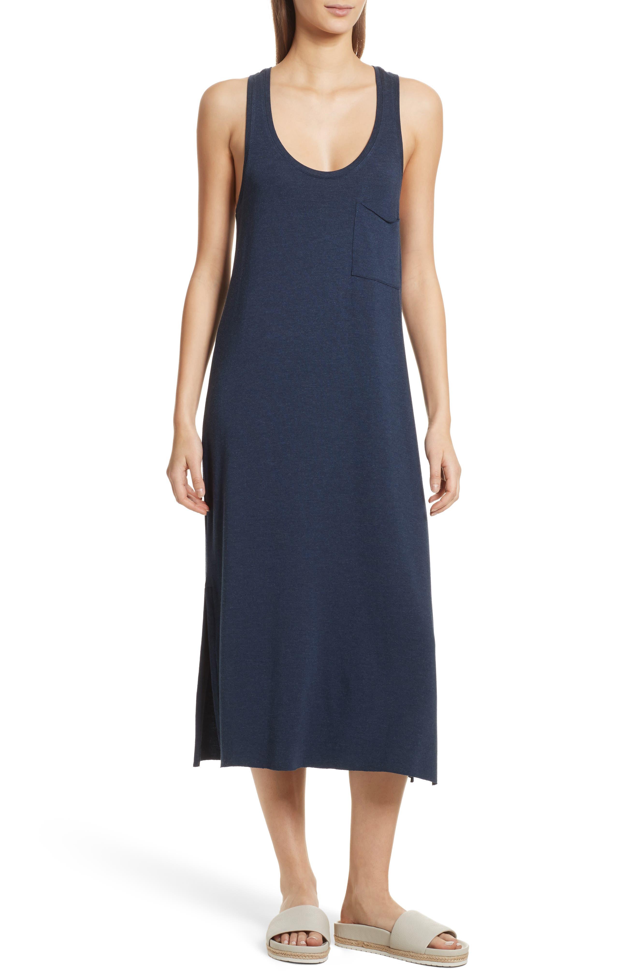 Pocket Midi Dress,                             Main thumbnail 1, color,                             Heather Denim