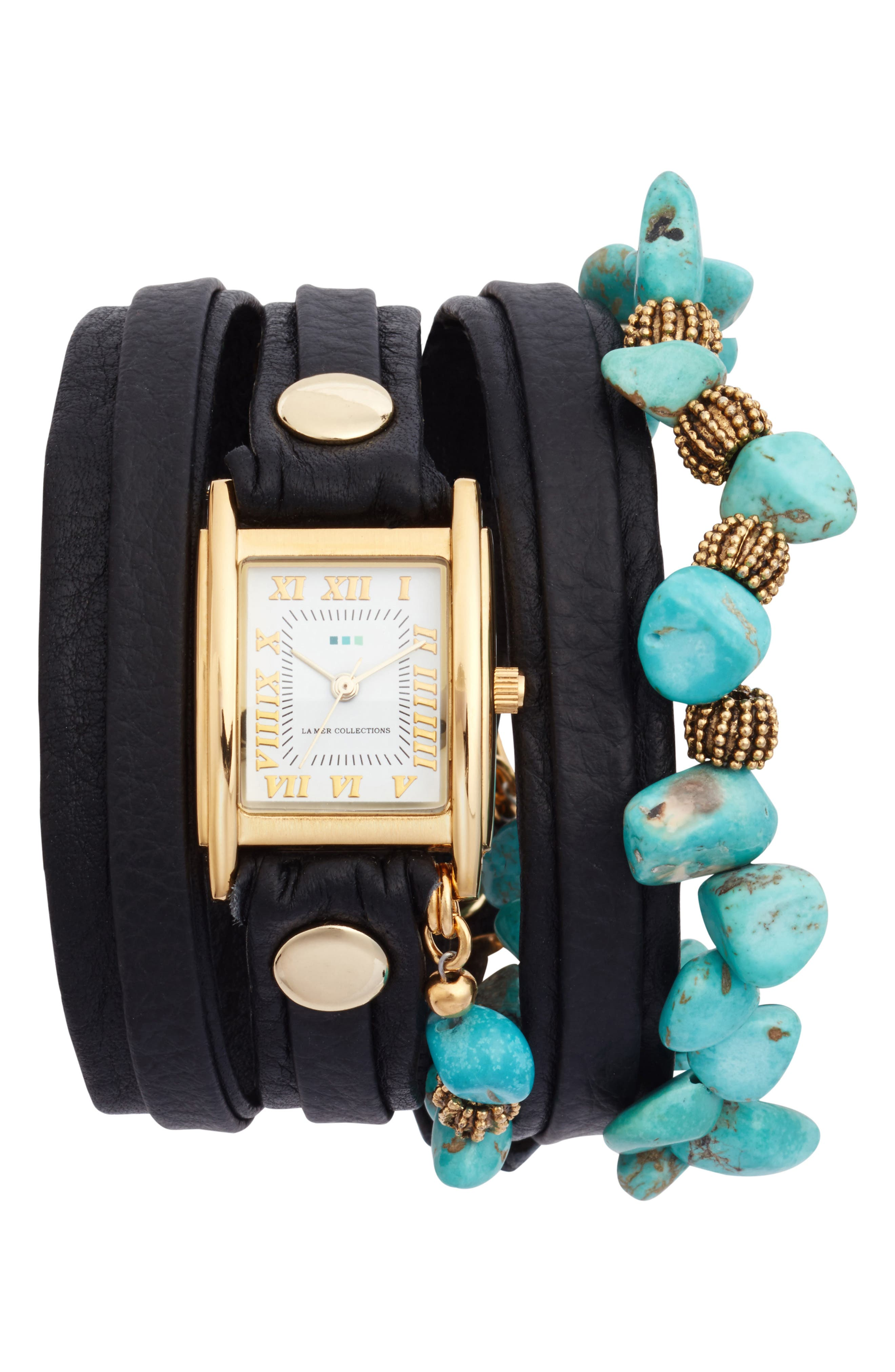 Oceana Stones Leather Wrap Watch, 29mm x 25mm,                             Main thumbnail 1, color,                             Black/ White/ Gold