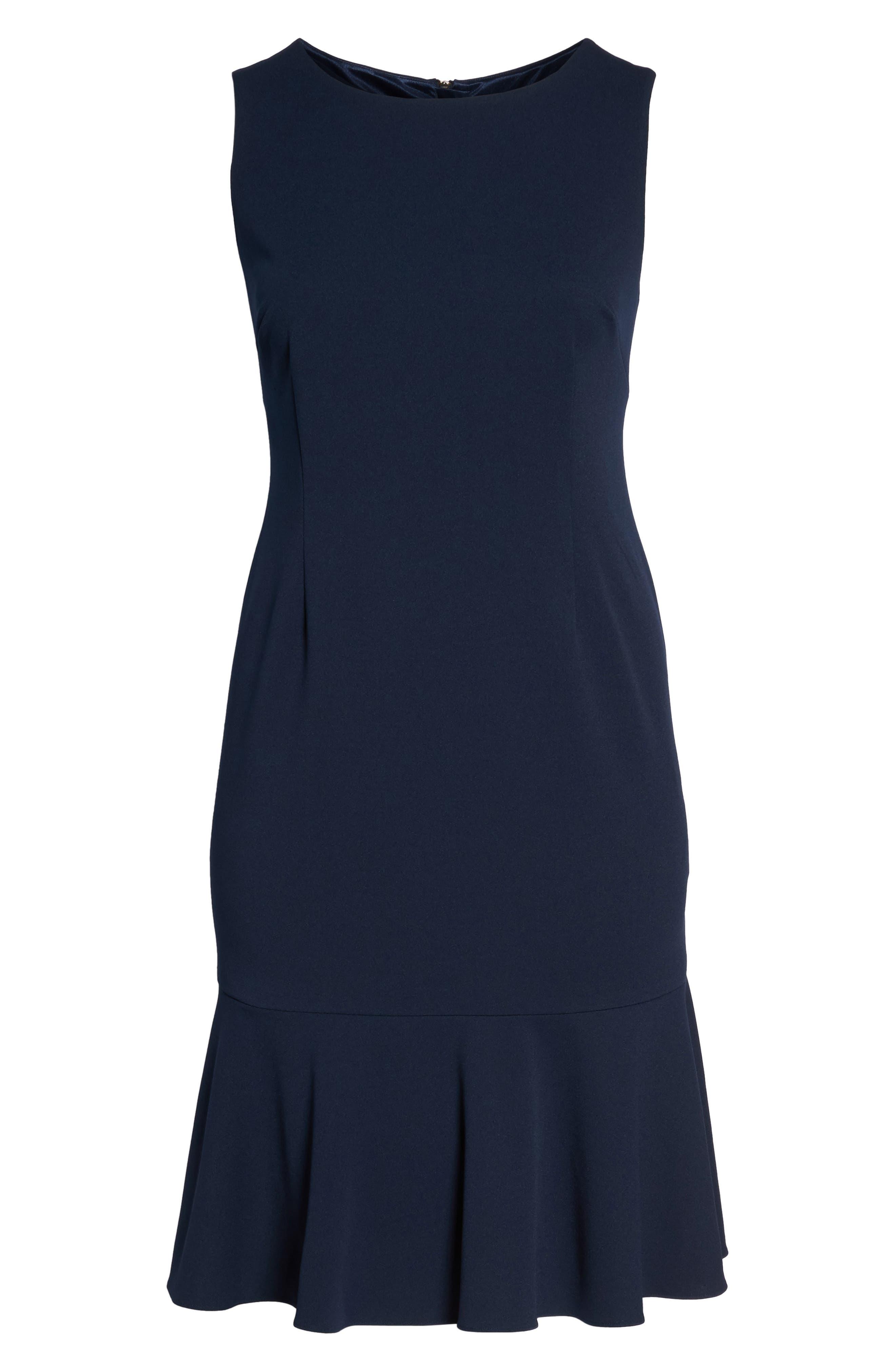 Crepe Flounce Dress,                             Alternate thumbnail 6, color,                             Blue Moon